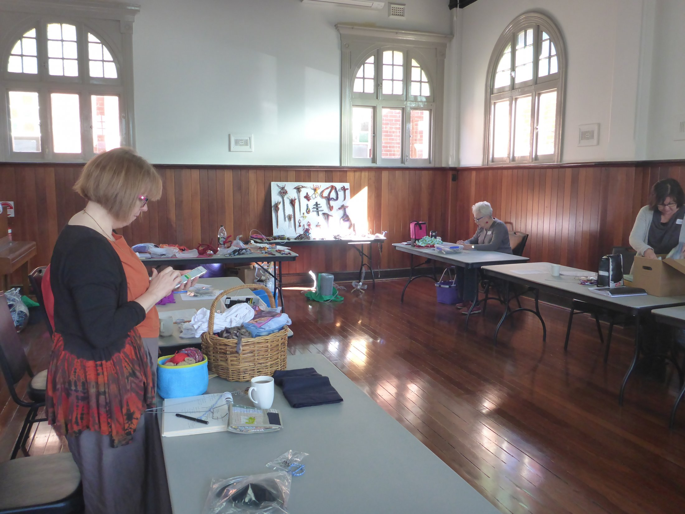 Participants at a workshop on textiles and wire armatures. Location: North Perth Lesser Hall for WAFTA.