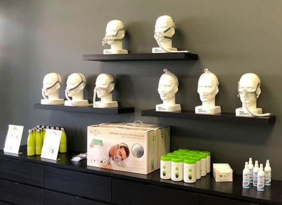 CPAP products are displayed in store for patient to view and experience.
