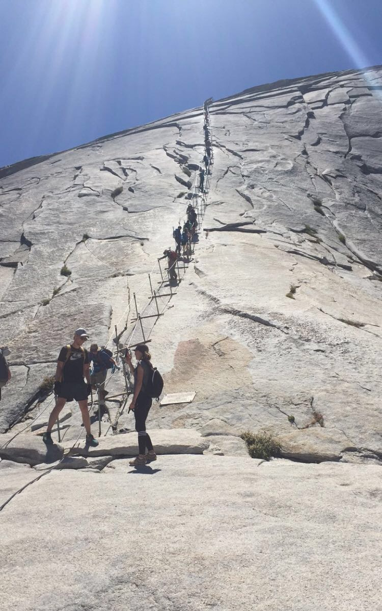 The Cables - the last stretch of the hike before reaching the summit of Half Dome