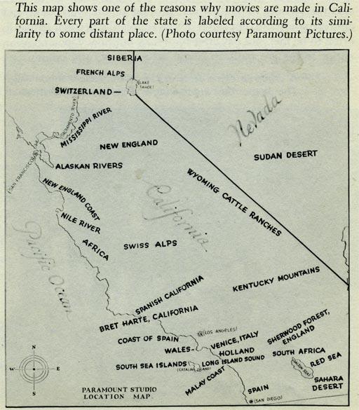1927 Paramount Studios Map of Potential Filming Locations in California
