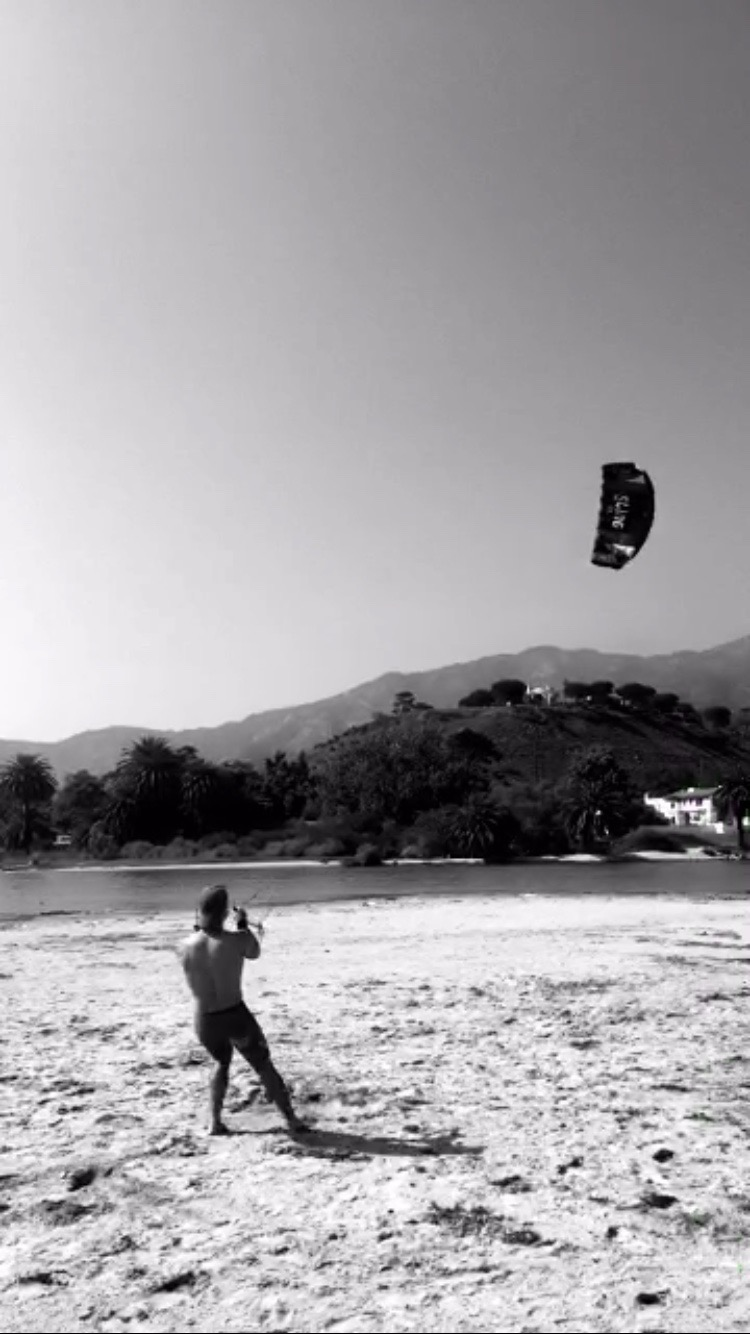 Me with my large powerkite in Malibu