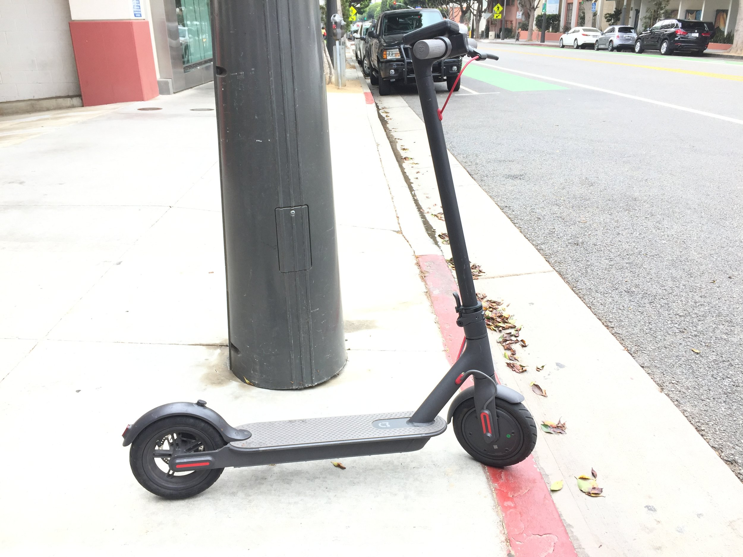 """A Parked Bird Electric Scooter - a couple days after Bird launched, before they put the """"Bird"""" logo on them"""