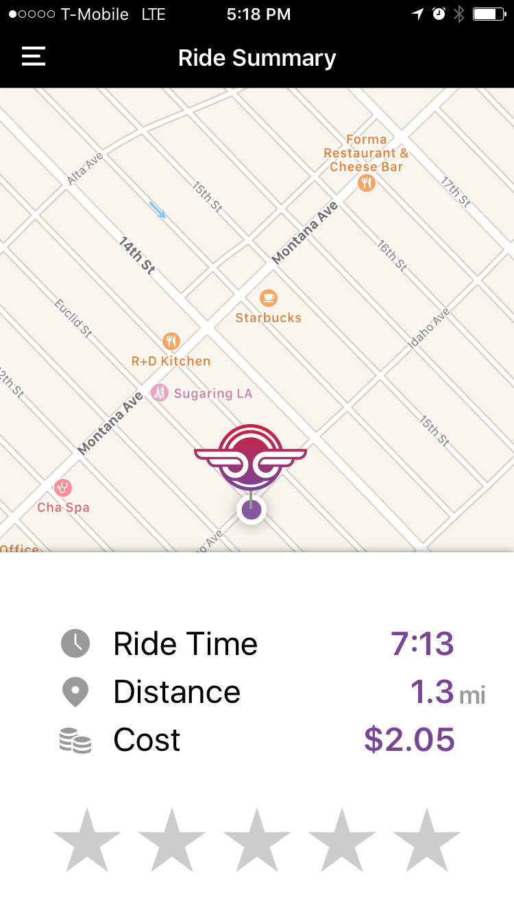7. End your ride - Once you reach your destination, click the