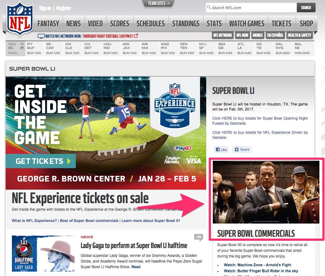 A screenshot of the official Super Bowl LI website on nfl.com devotes a ton of real estate to fans of the commercials.
