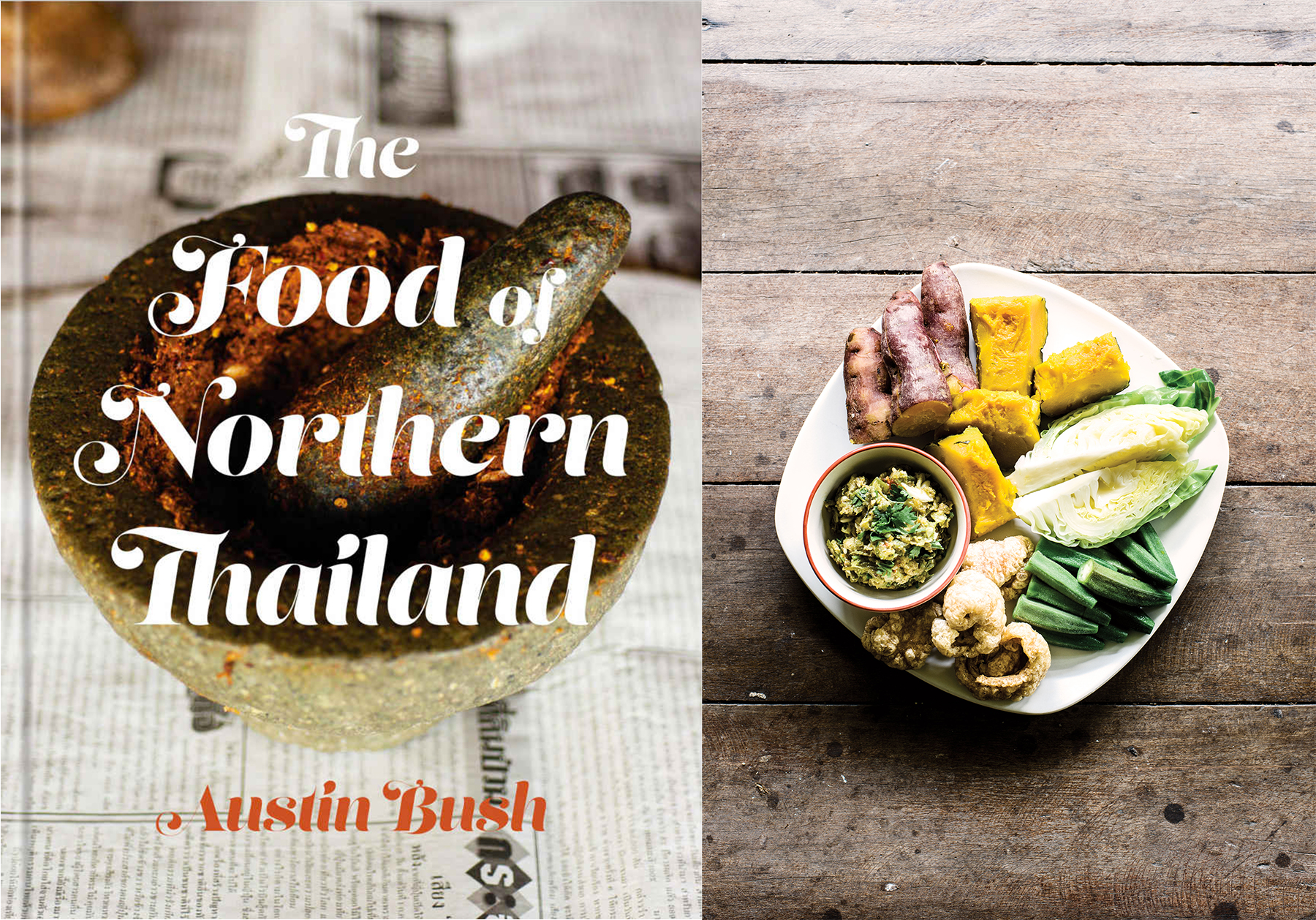 """© Penguin Random House and Austin Bush.   I love """"The Food Of Northern Thailand"""" cookbook. I am from Ampoe San Pa Tong in Chiang Mai, which falls in the broader region that Austin focused on for this book. No one actually knows that town except for a handful farangs (foreigners) who really spend their time to explore that region beyond the Night Bazaar and elephant tours. I did not expect it, but I ended up learning more about the history and foodways of a place I grew up in through this book.  A first reading of the book left me feeling unsure about my ability to cook from it. Then I reread it more carefully with an open mind, but I still worried about being unable to find certain ingredients such as fermented bean disks or mak kuen, a type of pepper. I was delighted to discover that most of the ingredients required are easily available at my local markets, inspiring me to feature the book's recipes at my pop-ups and for this Tapestry Suppers event.  For example, this summer, we have an abundance of eggplants (whether Japanese, Chinese or Italian - they all do the job!), tomatoes and peppers at the market. Spring onions with green tops and bulbs are so sweet and tender right now, they are a perfect substitute for Chinese onions used in the book. We are serving Akha-style mashed potatoes with Akha-style meat loaf, dishes that sound familiar to us but are also very different in their seasoning and cooking techniques. Even the mushrooms and yu choy in this menu are cultivated locally in Santa Cruz County. The meat is from Llano Seco Ranch, its already so flavorful and sweet and it gets even better when cooked in banana leaves over a charcoal fire.  I encourage you to use just a spoon and your hand with this meal. Grab a piece of vegetable and scoop up a little dip (don't double dip, of course). Peel a charcoal-roasted egg. Grab a piece of meat and sticky rice for a one-bite delight. Then chase it all down with a very tart soup!"""