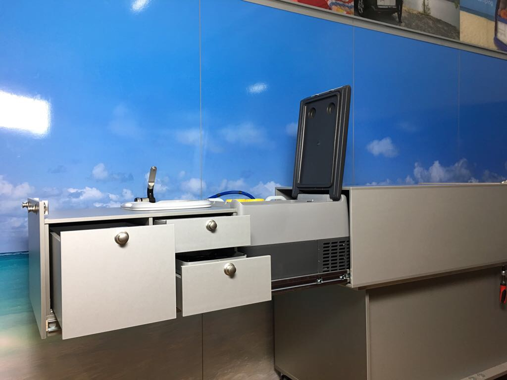 When not in use, the kitchen will be able to be removed, leaving space free for other recreational and commercial uses. Installation of the full kitchen system onto the heavy duty slide outs takes under 2 minutes.