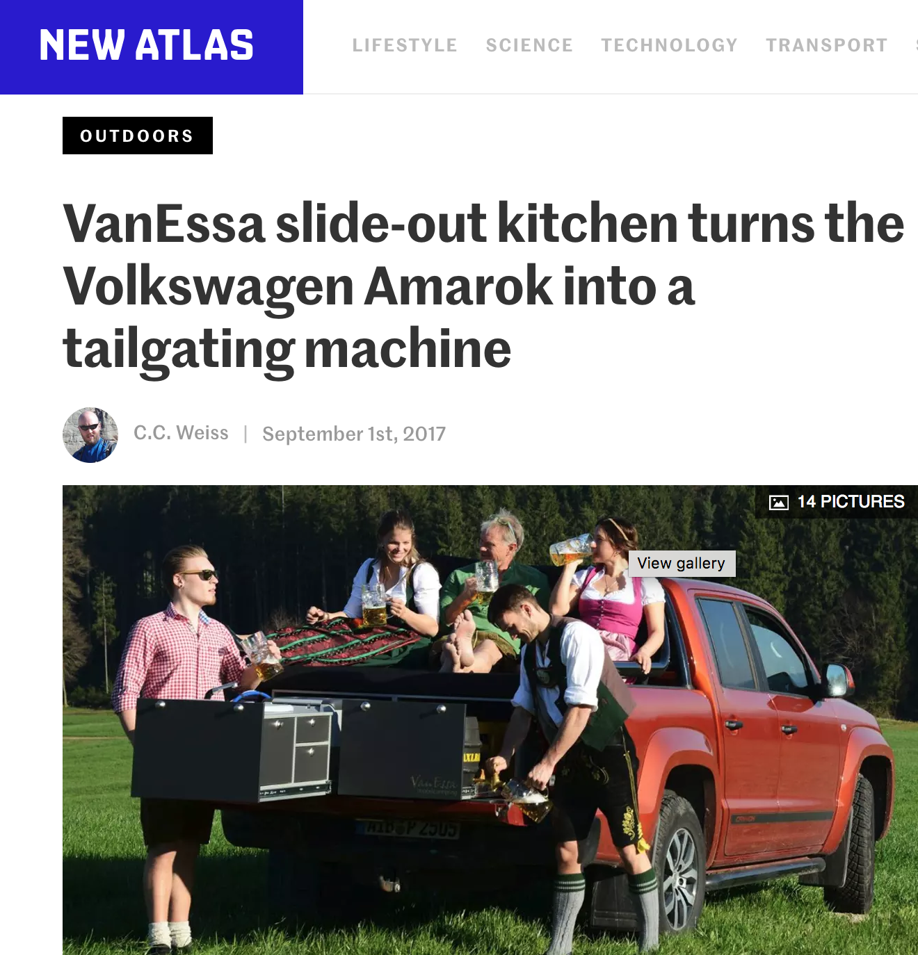 The tailgating machine - Germany's VanEssa is giving tailgaters and campers a sleek new way to enjoy a meal on the pickup tailgate. Its slide-out kitchen packs everything you need to serve up smoking hot food and icy cold beverages from the bed of the Volkswagen Amarok.