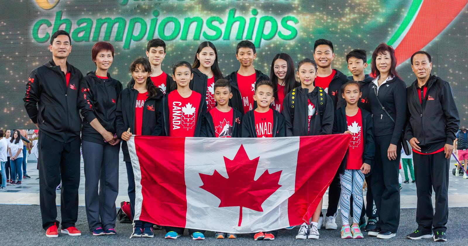 Master Wayland Li (far right) with students Zeina, Nima, Ashley, Remy, Adam, Rex and other members of the Canadian National Wushu Team.