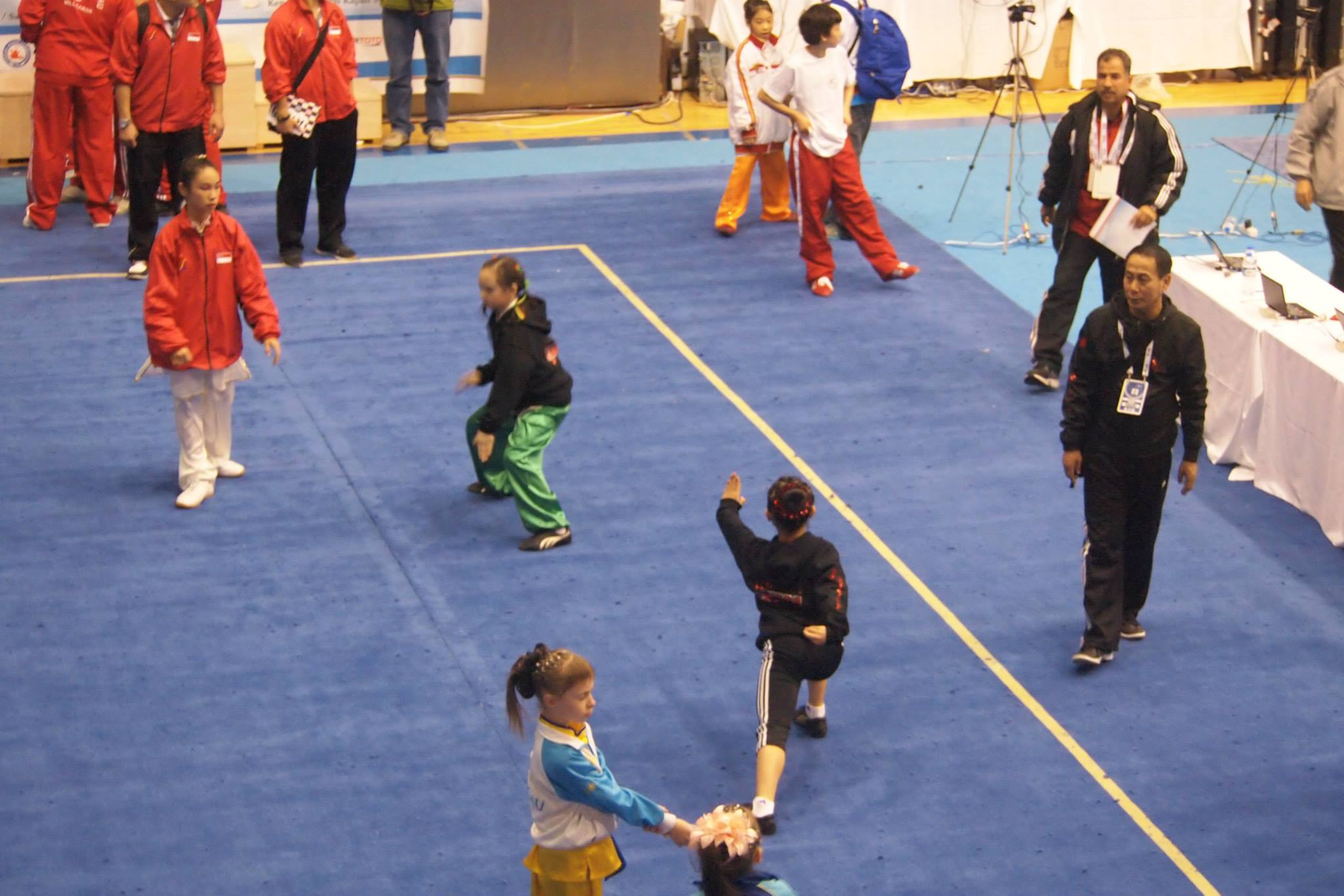 Erica and Julia warming up at the 5th World Junior Wushu Championships, 2014.