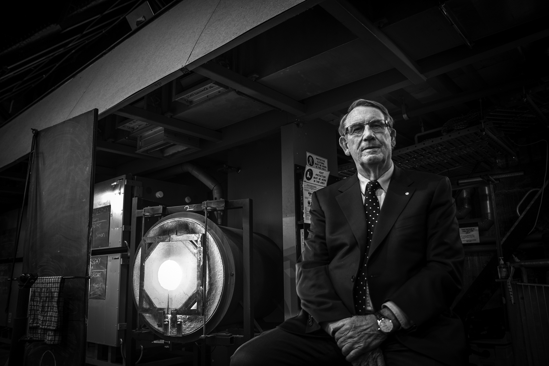 John Hindmarsh, Canberra arts patron and Executive Chairman of Major Sponsors, Hindmarsh, on the floor of Canberra Glassworks hotshop on the eve of it's launch in 2016.