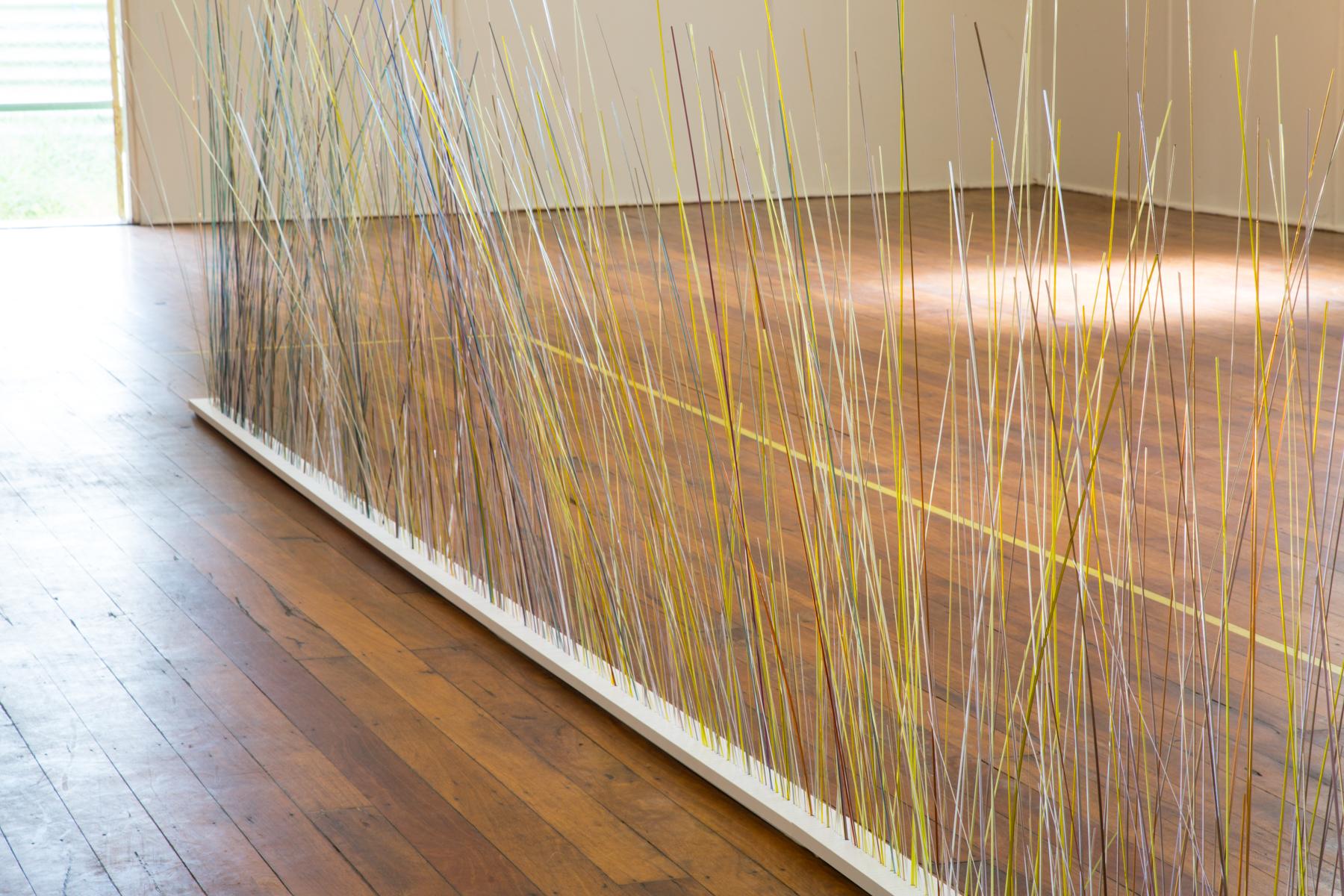 Hannah Gason,  Watching, waiting , 2017, hot formed glass, wood, 120 x 480 x 70 cm. Photos: Wendy Dawes.
