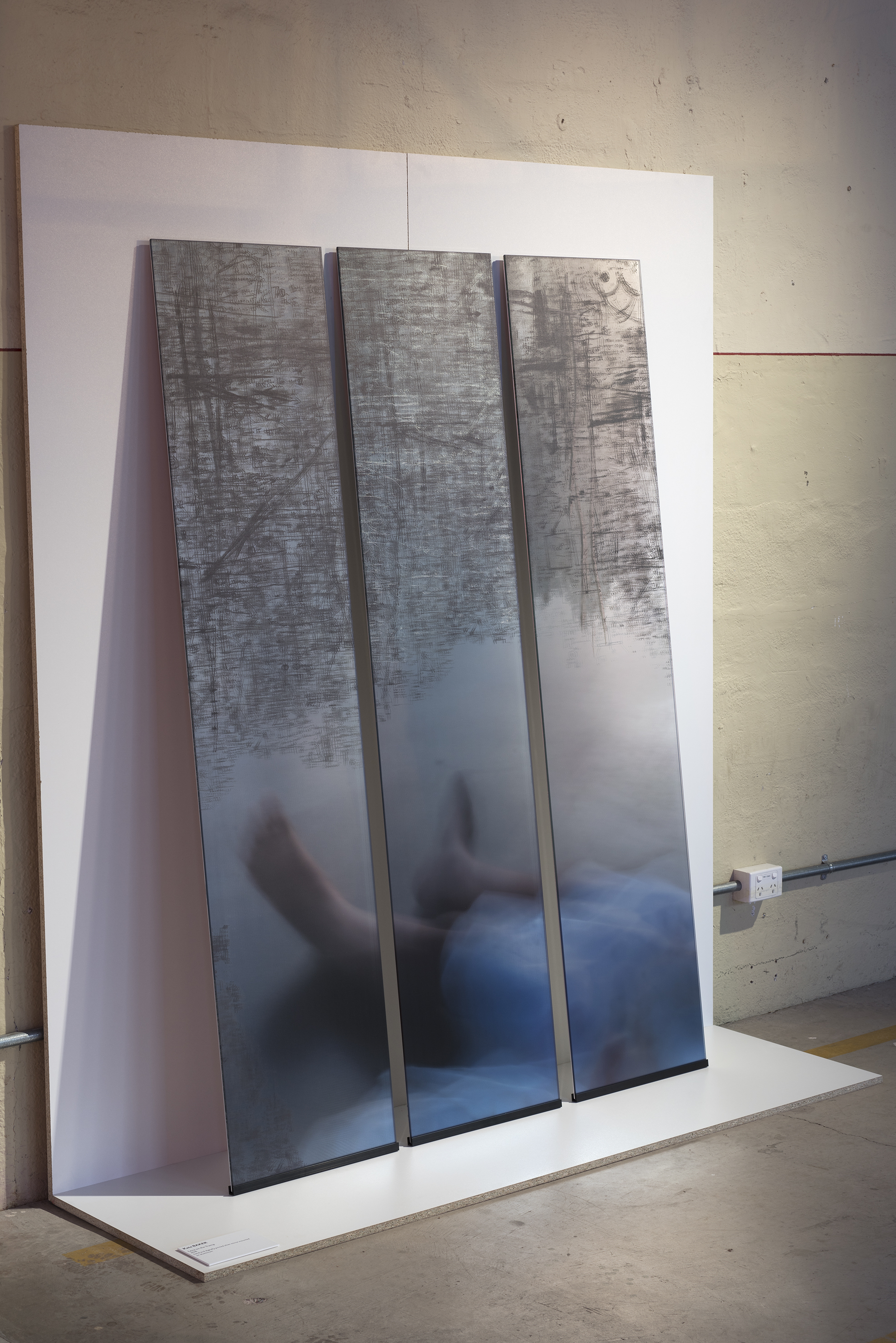 Kate Baker,  Lena on the Tramp , 2018, hand and digitally printed silver mirror, courtesy of the artist. Image: Brenton McGeachie