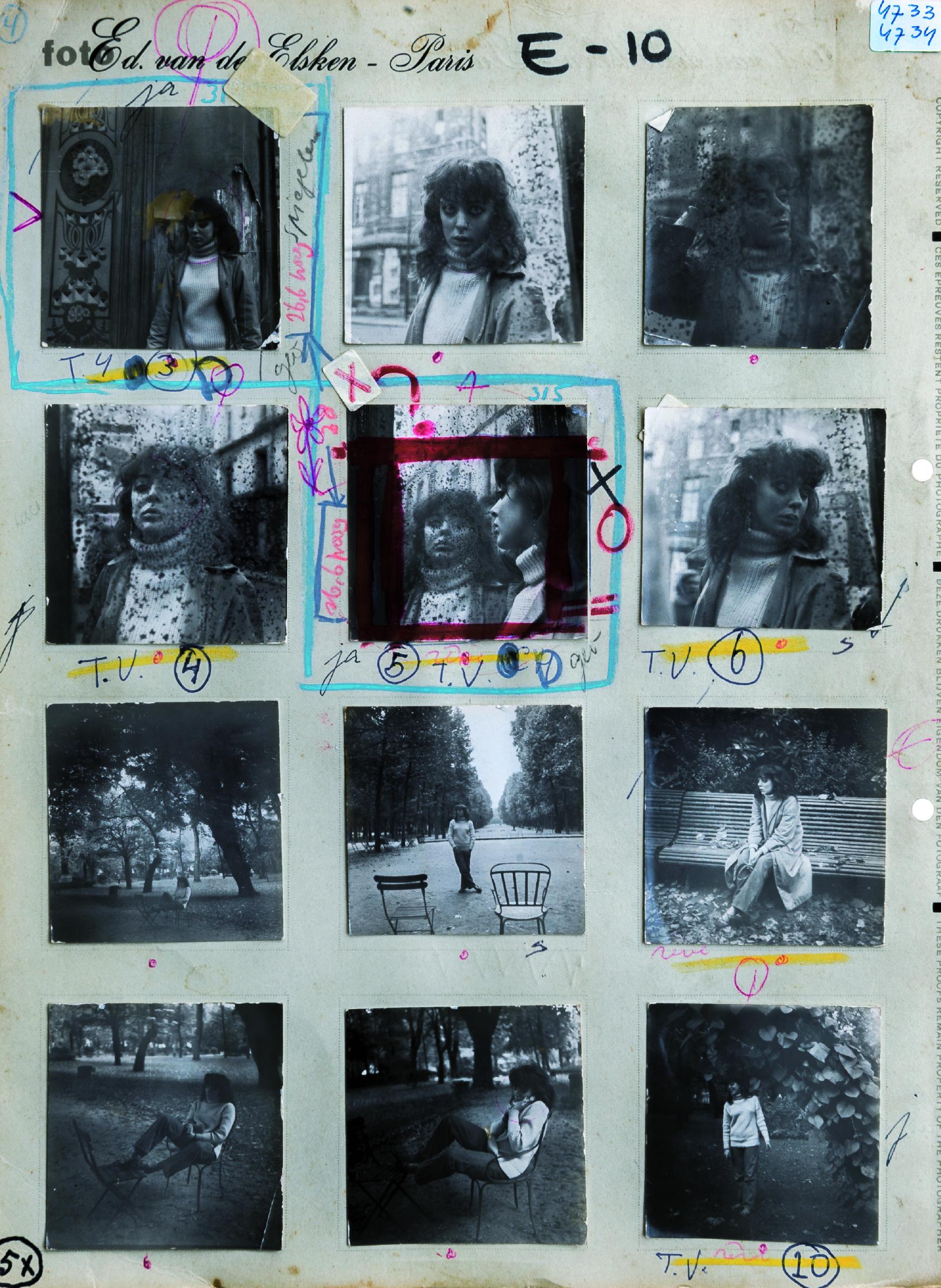 Planche contact préparatoire pour la publication de « Love on the Left Bank », collection Anneke Hilhorst © Ed van der Elsken
