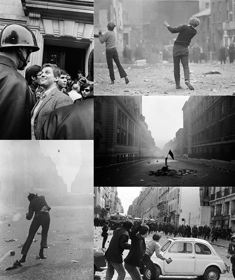 Gilles Caron, Montage d'images de la série Paris Mai 68. Courtoisie de la galerie scolaire Olivier Castaing