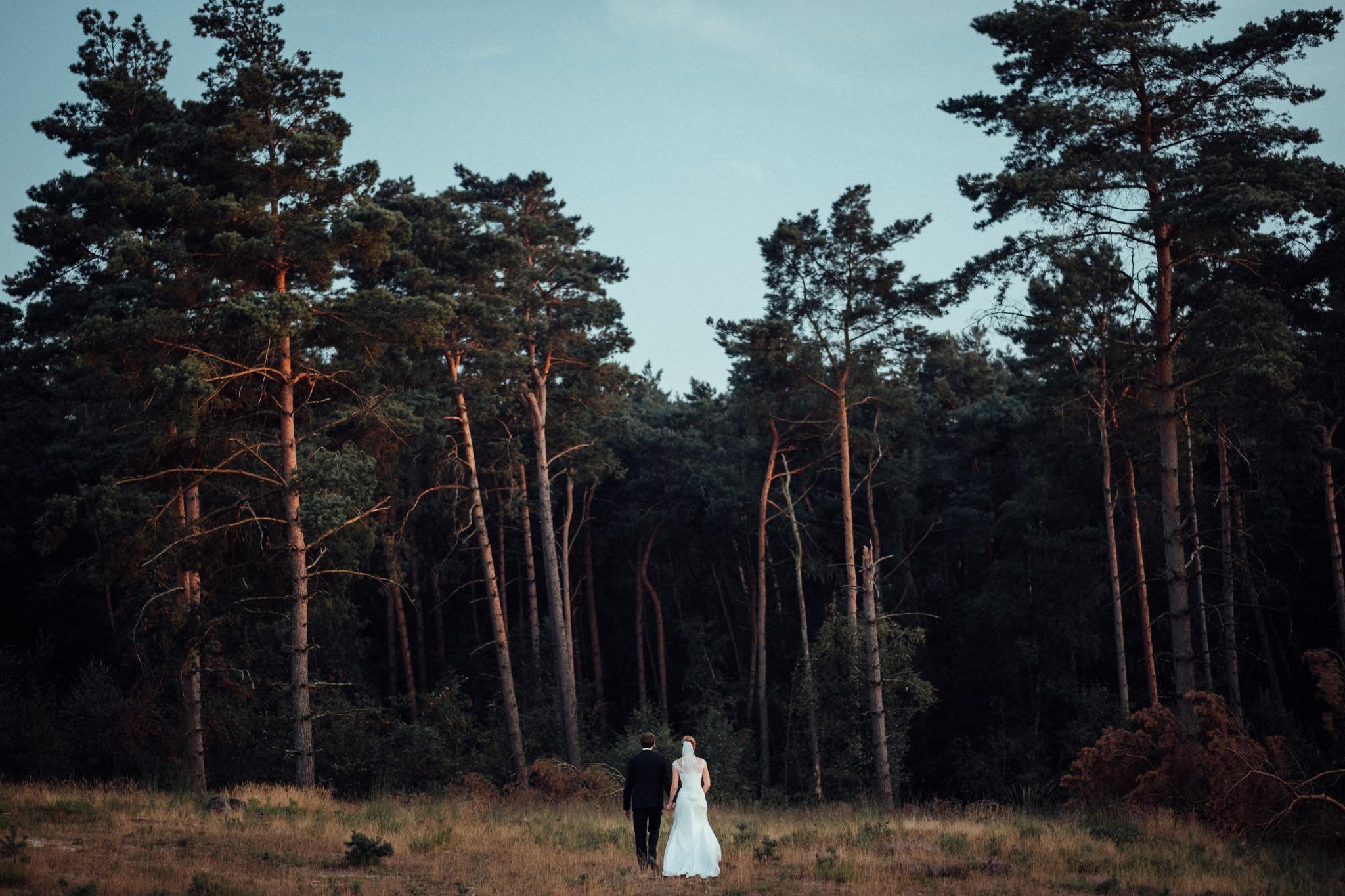 Hochzeitpaar Hand in Hand vor einer Waldlichtung in der Brunssumerheide beim Paarshooting