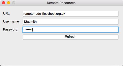 Enter your details details... - URL - remote.radcliffeschool.org.ukUser Name - (School computer user name)Password - (School computer password)Then click the