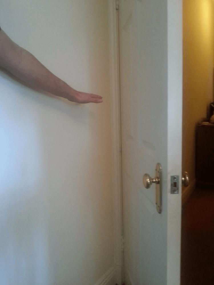 Door in corner of room