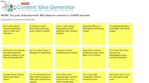 content idea generator resultaten