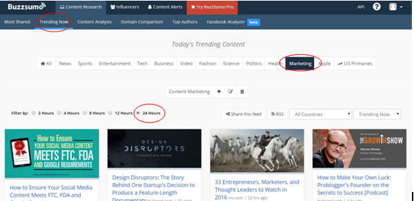 Trending feature Buzzsumo