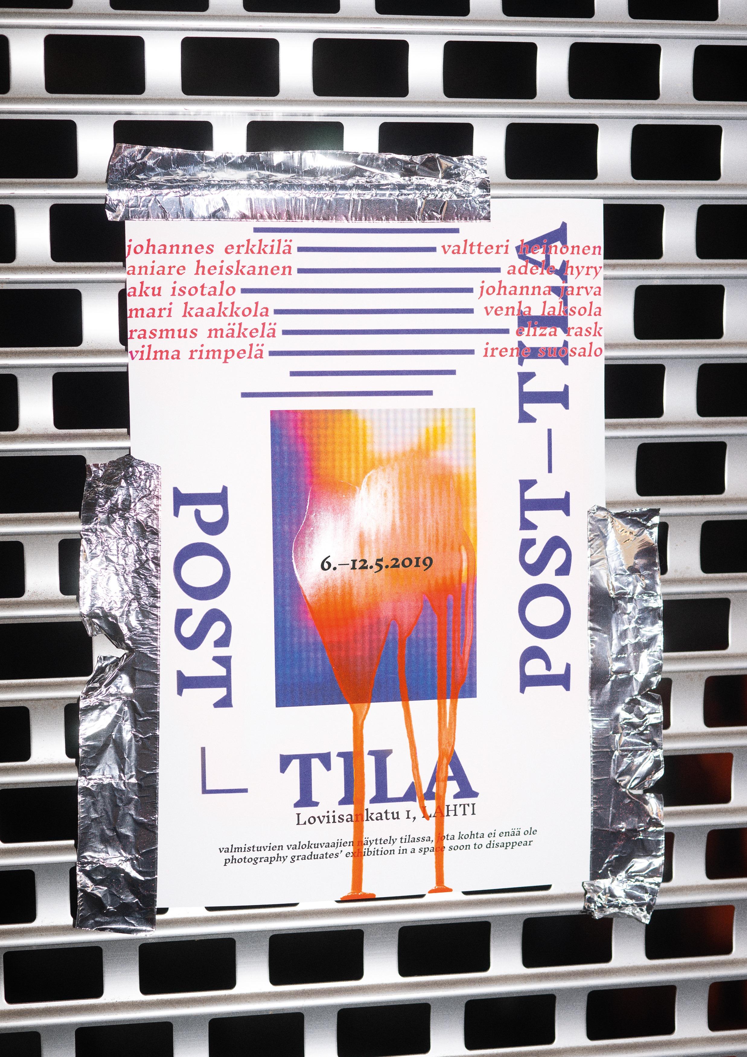 Post-tila   Post-tila (Post-space) is an exhibition by the photography graduates from Lahti Institute of Design, held in a space soon to disappear.  Graduation Exhibition @ Loviisankatu 1, Lahti  7.-12.5.2019 Tu–Fri at 12:00–19:00 Sat–Sun  at 11:00–17:00  The opening: Monday 6.5. at 18:00  Facebook event: Post-tila   Photographers: Johannes Erkkilä, Valtteri Heinonen, Aniare Heiskanen, Adele Hyry, Aku Isotalo, Johanna Jarva, Mari Kaakkola, Venla Laksola, Rasmus Mäkelä, Eliza Rask, Vilma Rimpelä, Irene Suosalo
