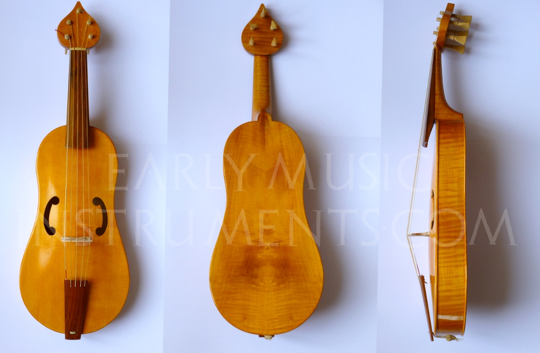 "Viola da Braccio ""da Vinci""  37cm string length Ribs, back, and neck in poplar, maple, or cherry  €1100"