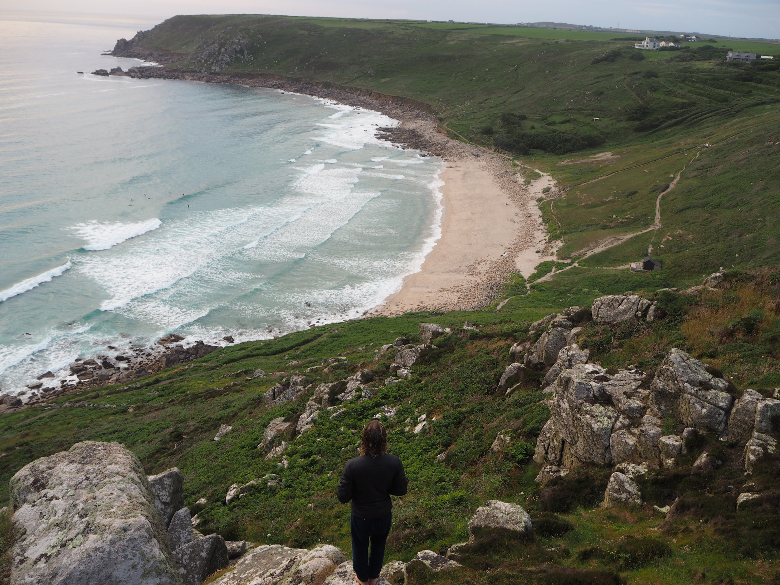 Overlooking Gwenver Beach from Escalls Cliff. The path is in the bottom of the shot.