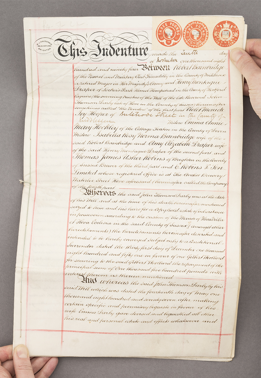 Deed for 'a beerhouse known as The Artilleryman', 1894,found in Brighton