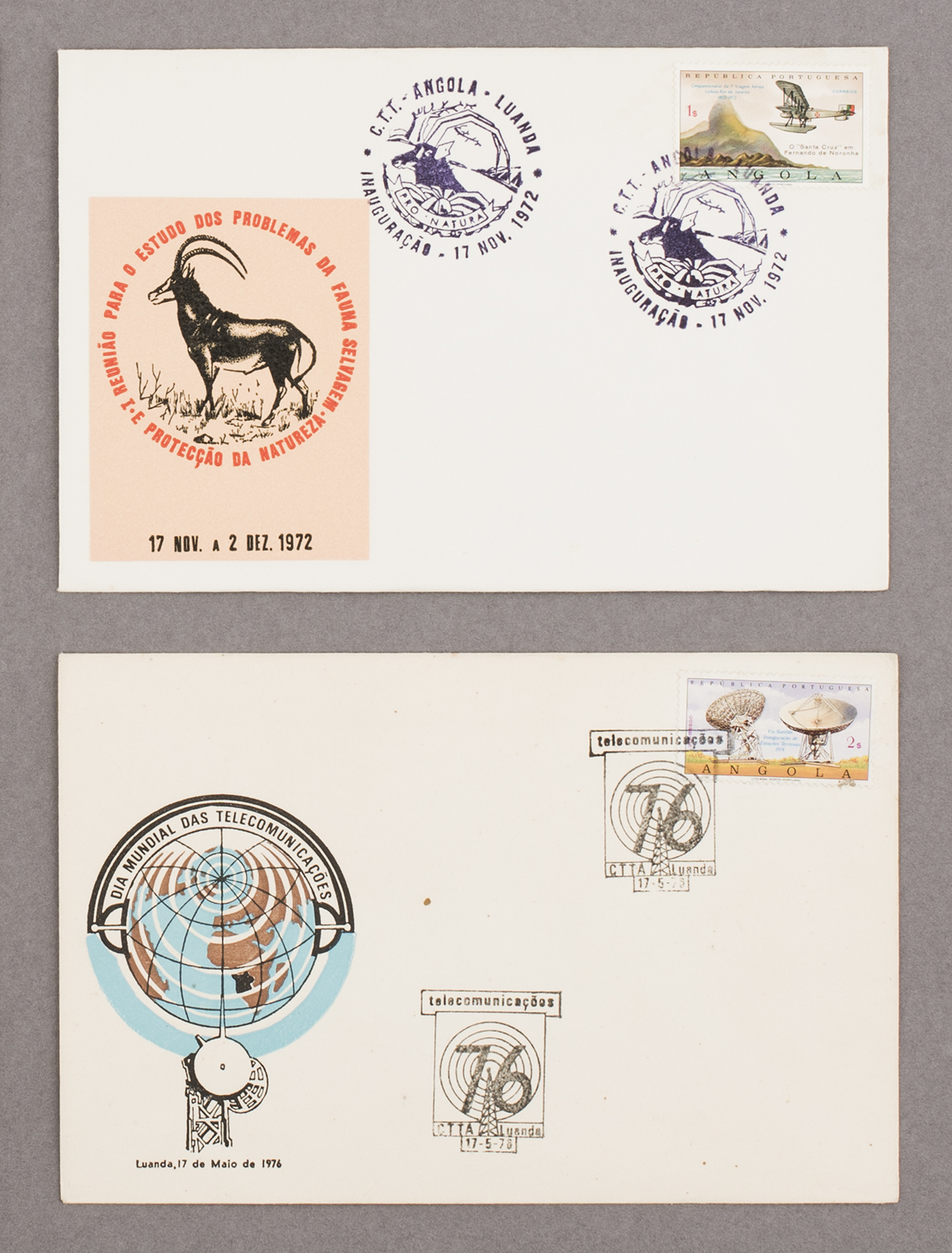 First day covers from Angola, 1972 & 1976,from Feira de Ladra, Lisbon