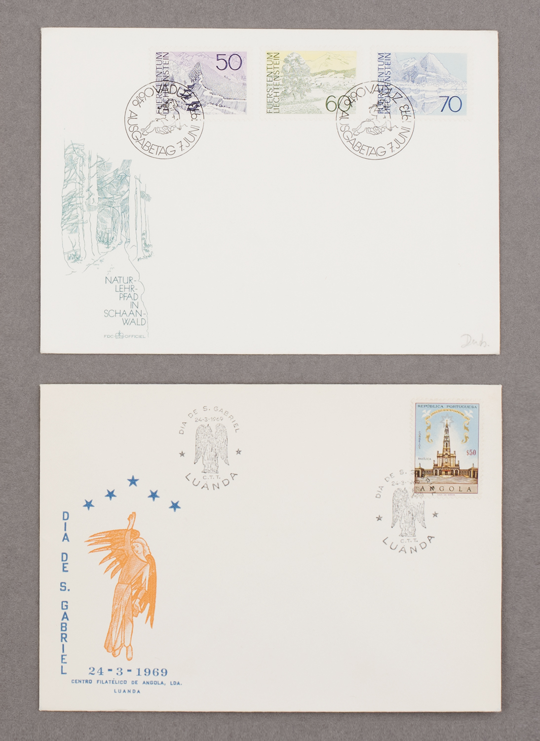 First day covers from Lichtenstein and Angola, 1973 & 1969, from Feira de Ladra, Lisbon