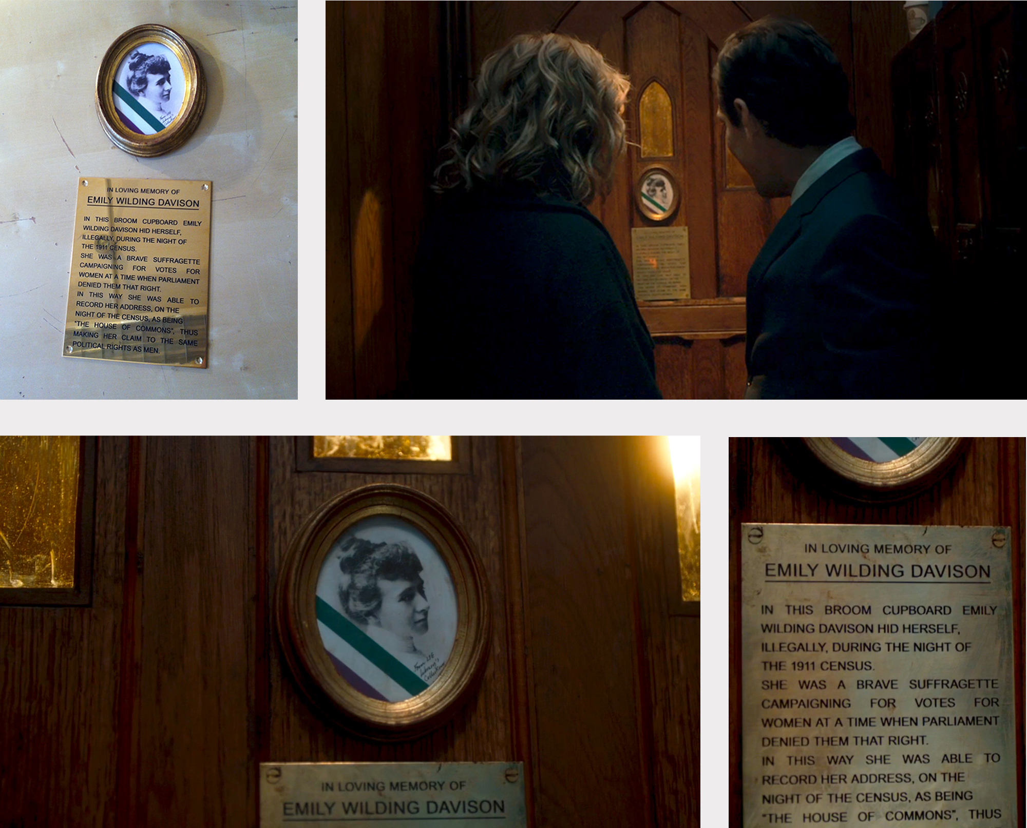 Re-creation of dedication to Emily Wilding Davison, secretly placed in a House of Commons' cupboard by Tony Benn.Etched brass plaque and Women's Library archive photograph.