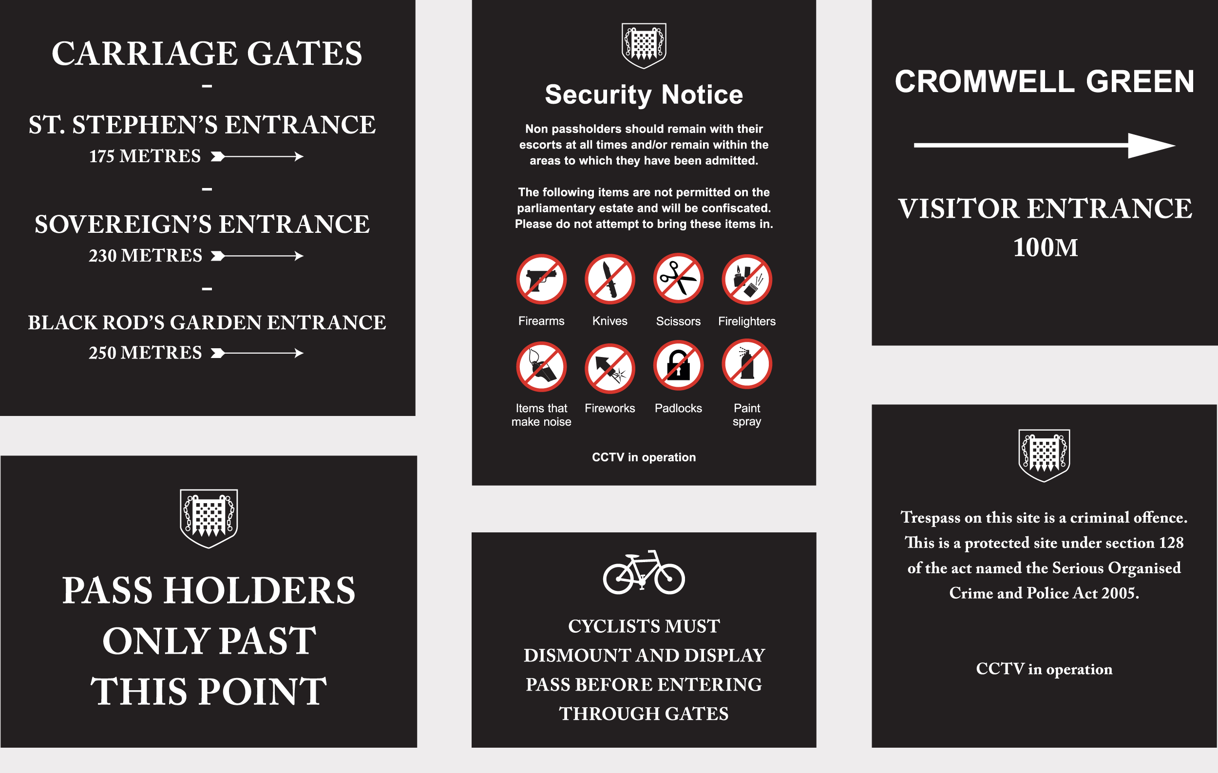 Houses of Parliament exterior signage, with alternative portcullis emblem for legal clearance.