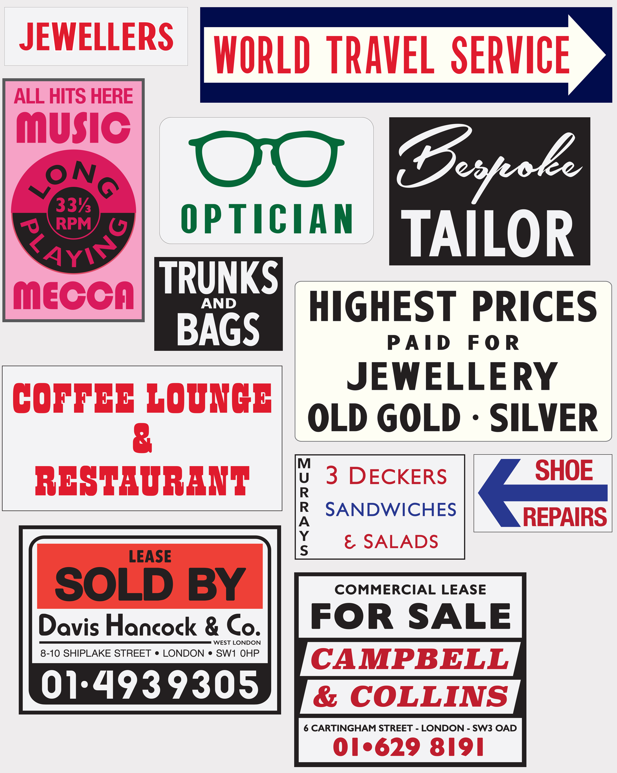 Designs for street signage dressing fabricated using print, vinyl and light boxes.