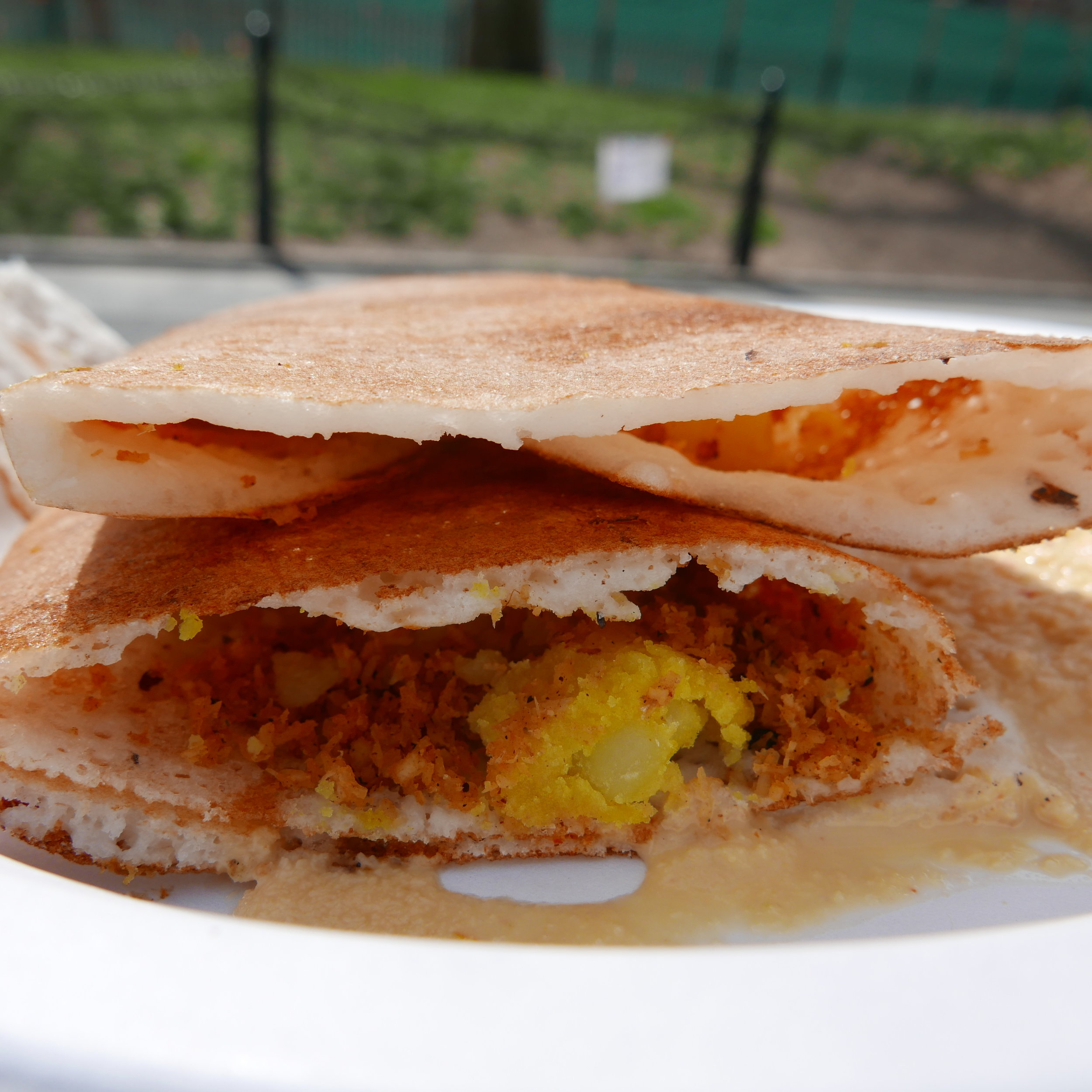 Special Pondicherry crepe made of rice & lentil, filled with veggies and potatoes