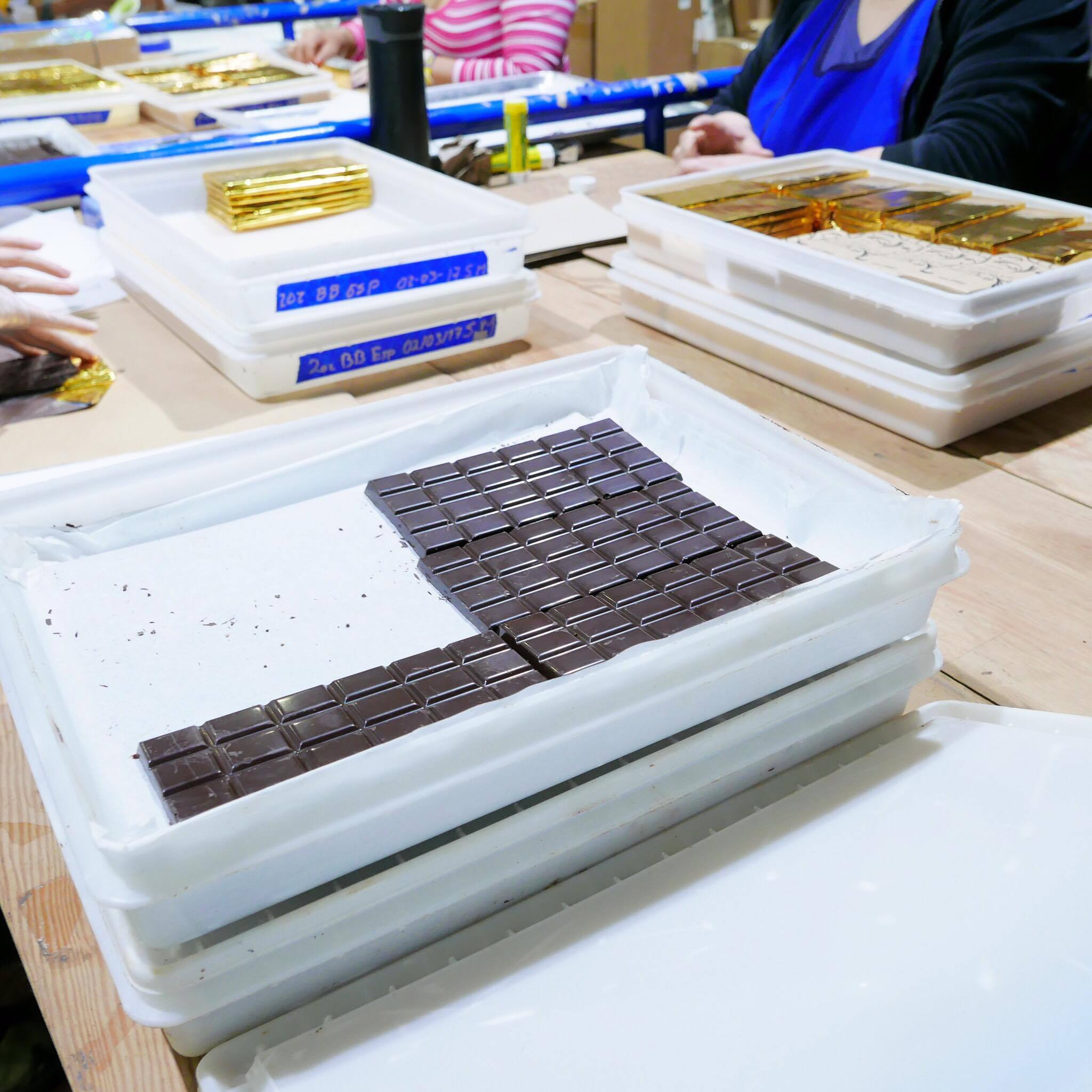 Chocolate being hand packaged