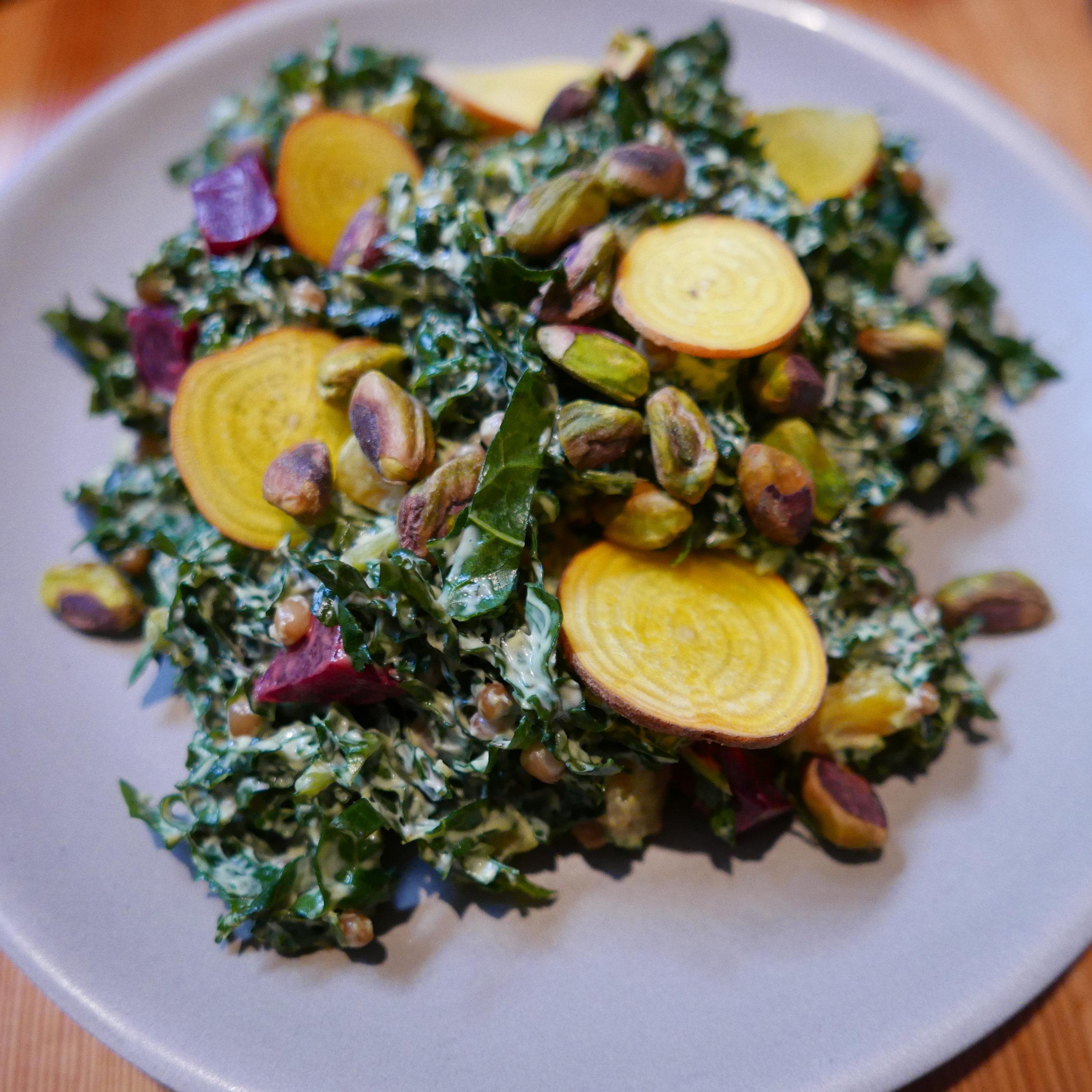 Vegan brunch - Kale salad, roasted beets, pistachios