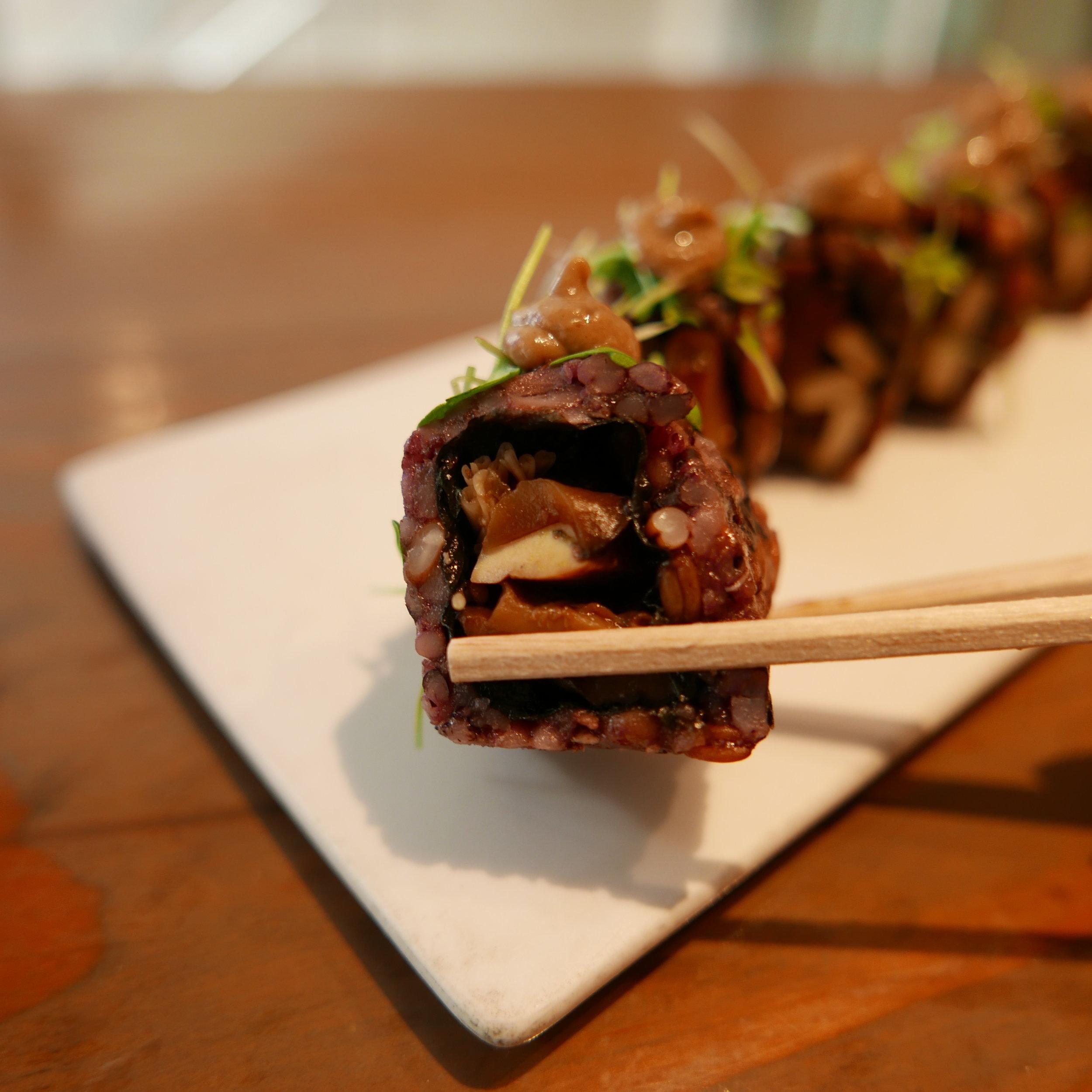 Mighty Mushroom - Six-grain rice, enoki mushrooms, baked tofu, braised shiitake, and micro arugula