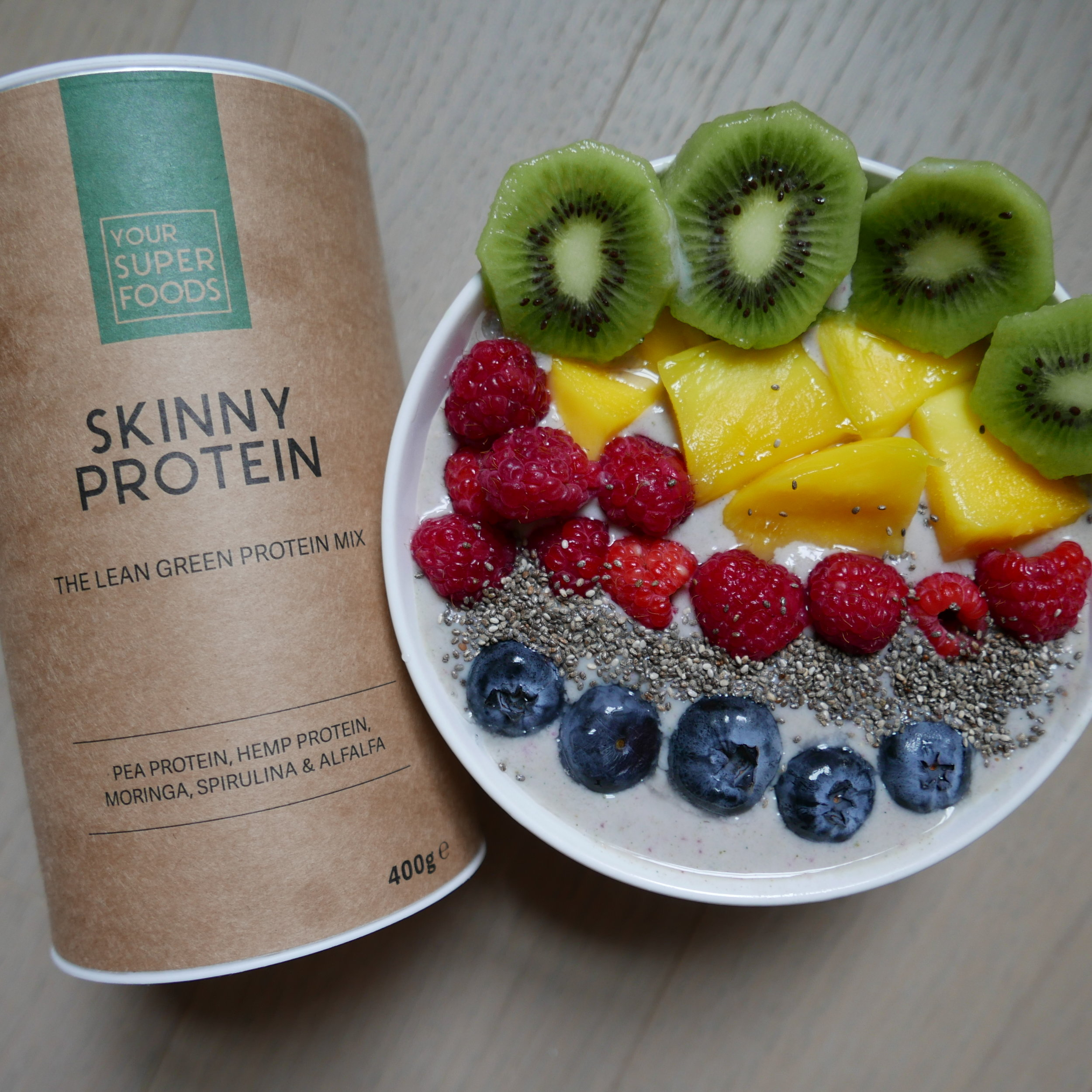 Skinny Protein - 62% lean and green plant-based protein. made with organic moringa, spirulina, alfalfa grass and protein from plants — including pea and hemp. I put this inside a morning smoothie bowl!