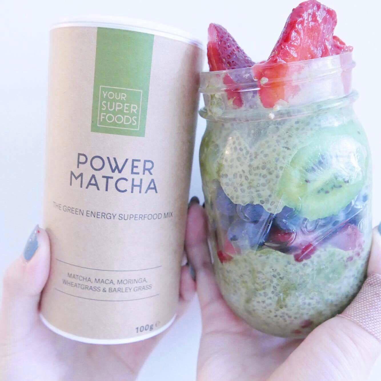 Power Matcha - matcha green tea with ancient maca root, African moringa leaves, powerful wheatgrass and barley grass. I mixed it with a chia seed pudding to make a Power Matcha Pudding Mix!