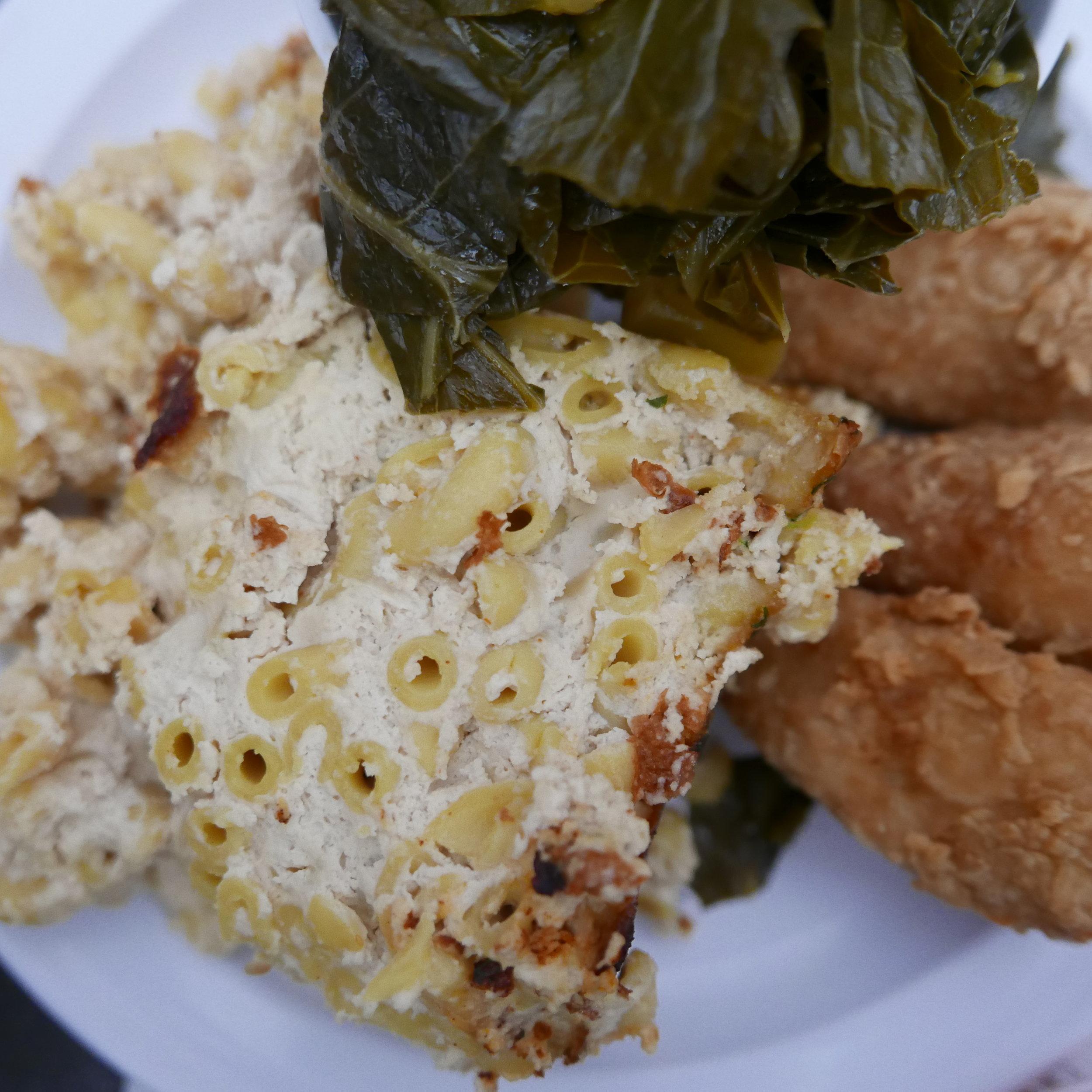 The amazing vegan mac and cheese, fried chicken, and collard greens