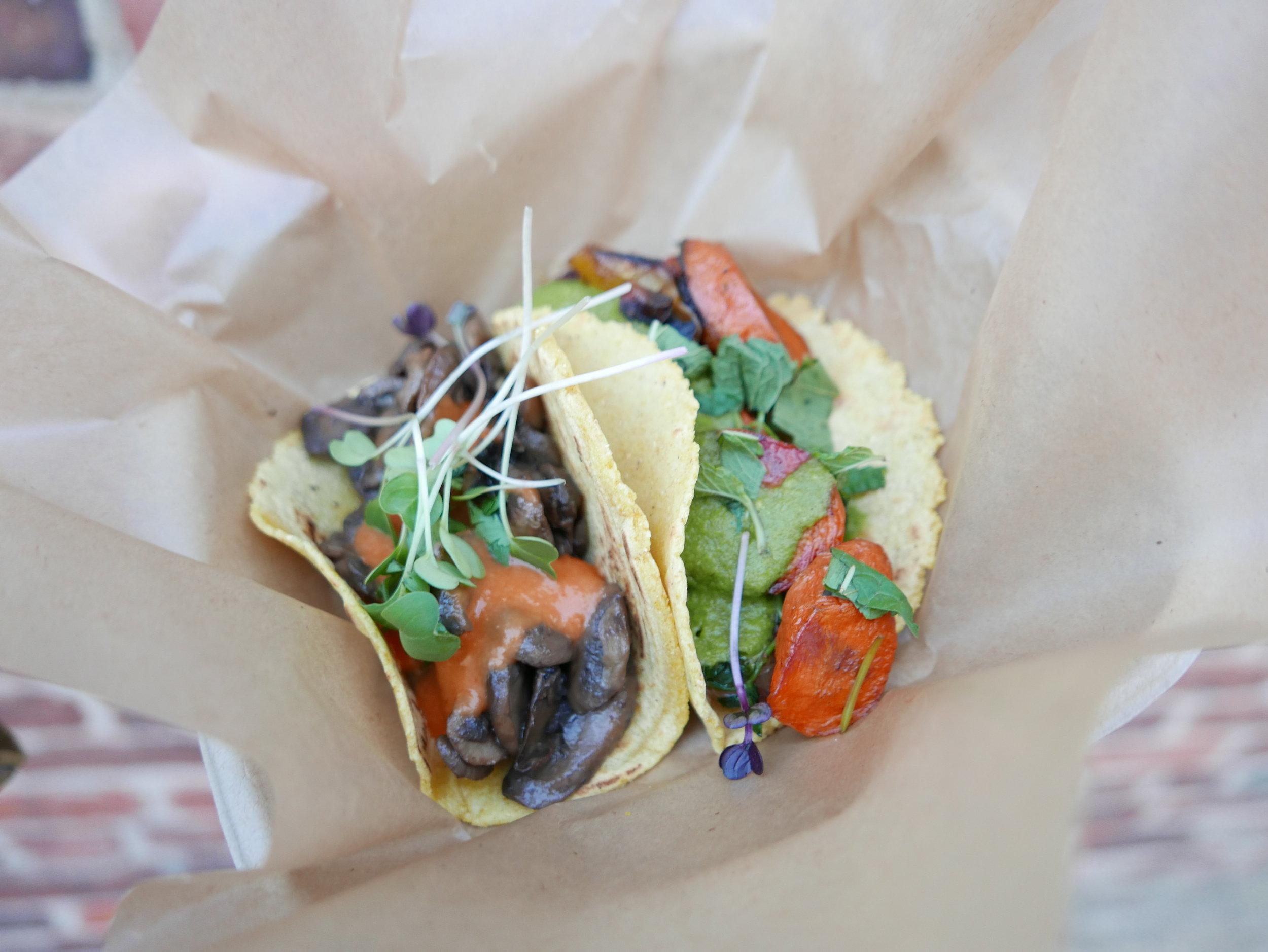 Mushroom Taco and Carrot Taco