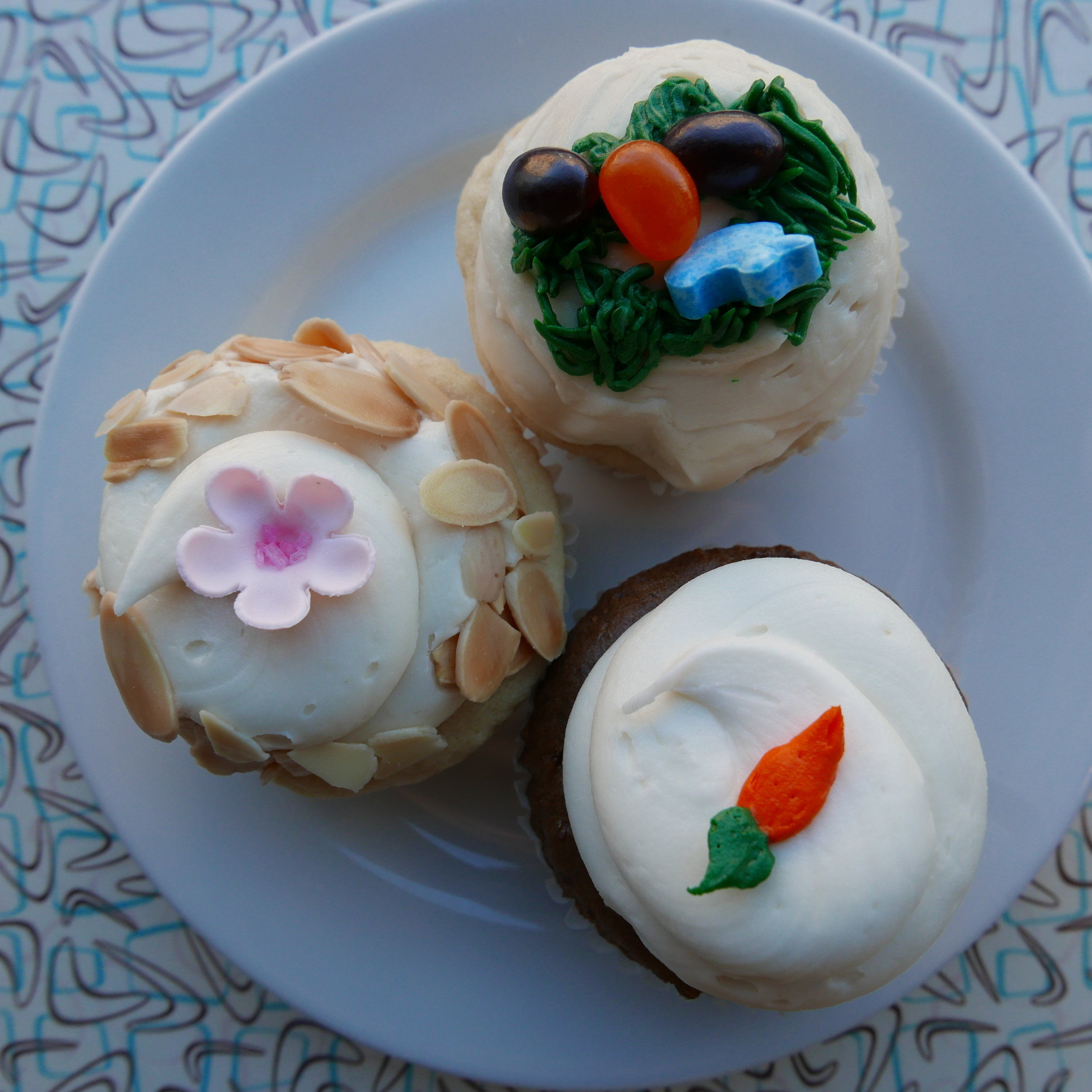 Cherry Blossom Cupcake, Easter Vanilla Cupcake, Carrot Cupcake