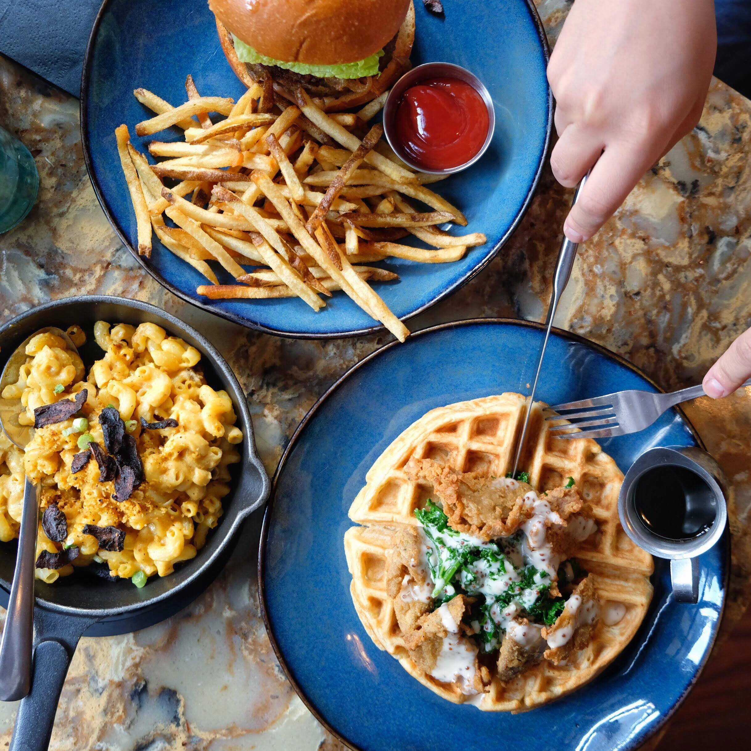 Left to Right: Mac n' Cheese, UVK Quarter Pounder, Chicken Un'Waffles