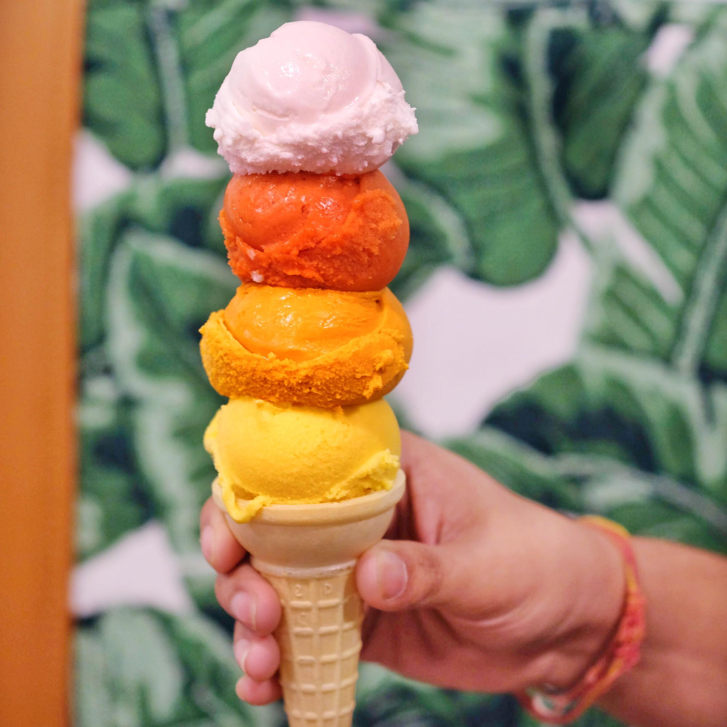 Flavors from top to bottom: coconut, Thai Iced tea, passion fruit, mango sticky rice