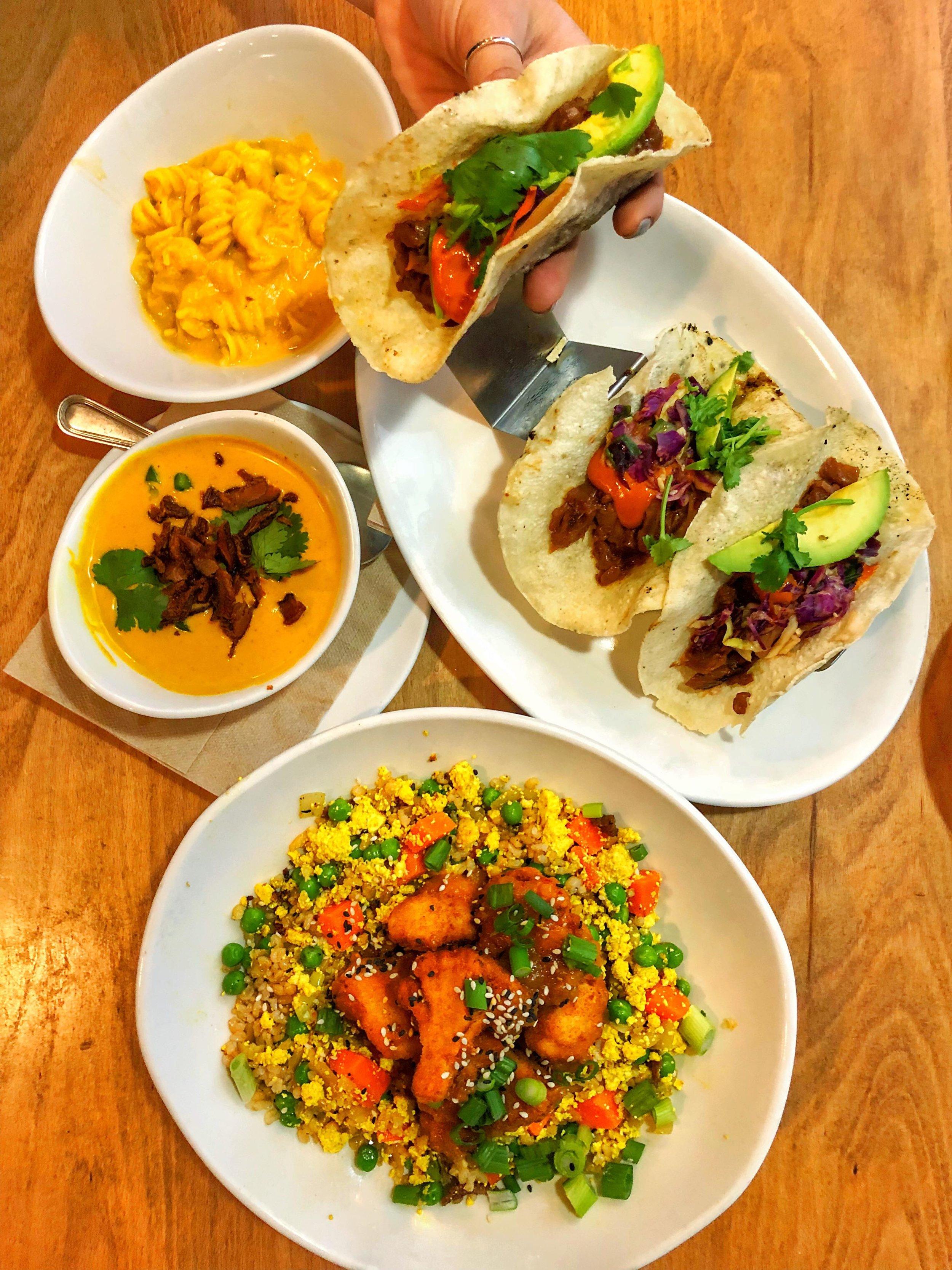 Orange chicken cauliflower, Thai Red Curry Soup, Jackfruit Taco, Mac and Cheese