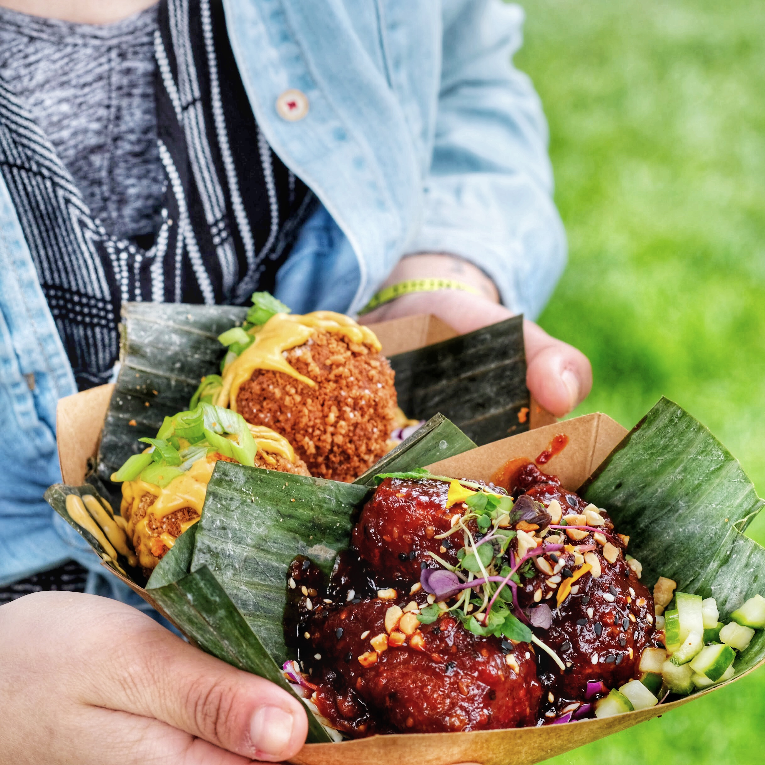 From Seattle, Washington with serious tiki vibes. Featured here is the fried mac and cheese balls and the fried spicy Korean seitan