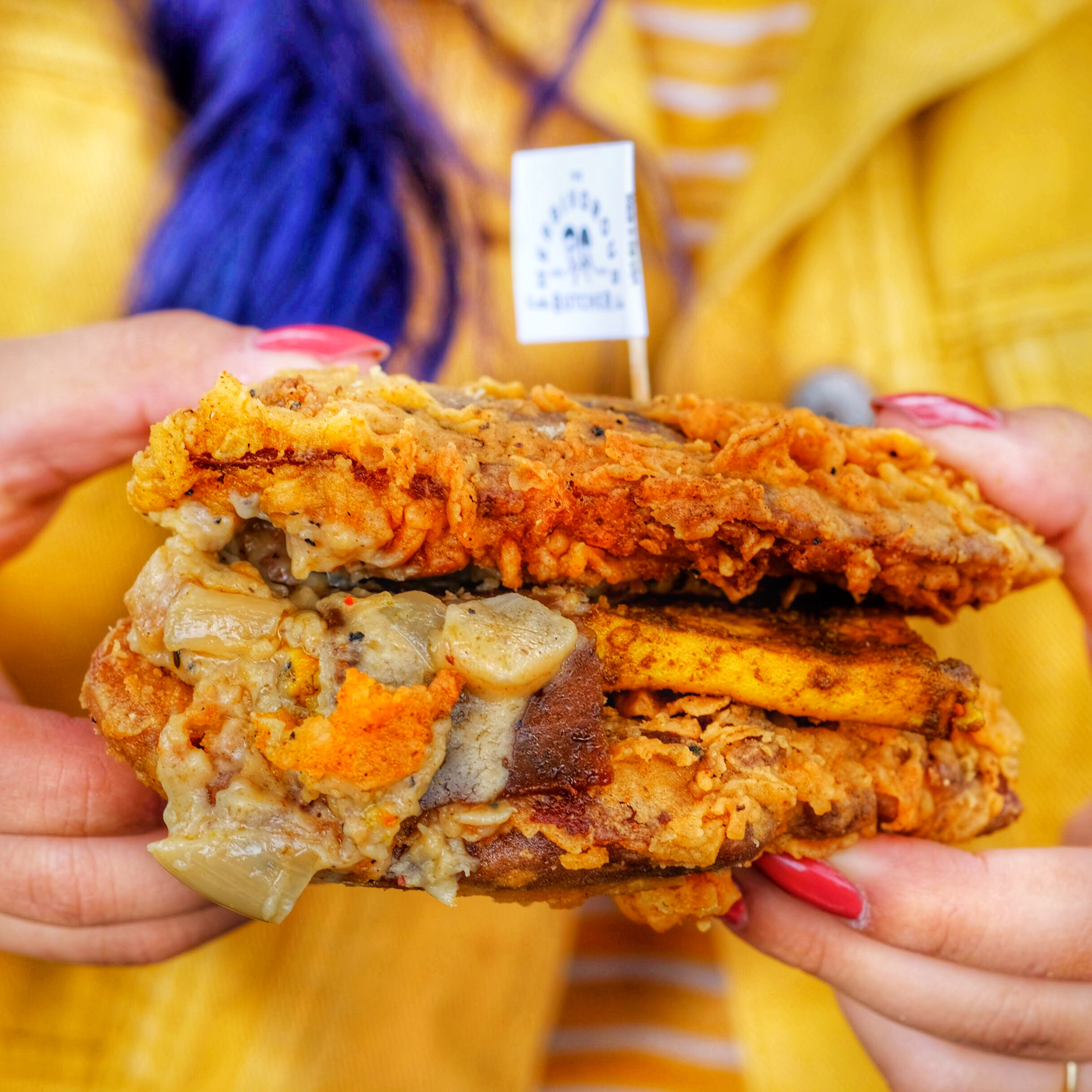 """From Minneapolis, Minnesota. World's first all vegan butcher shop. This is the Double Down with two pieces of country fried rib-eye steak, hickory bacon, """"egg"""" tofu, country gravy, and breakfast sasuage"""