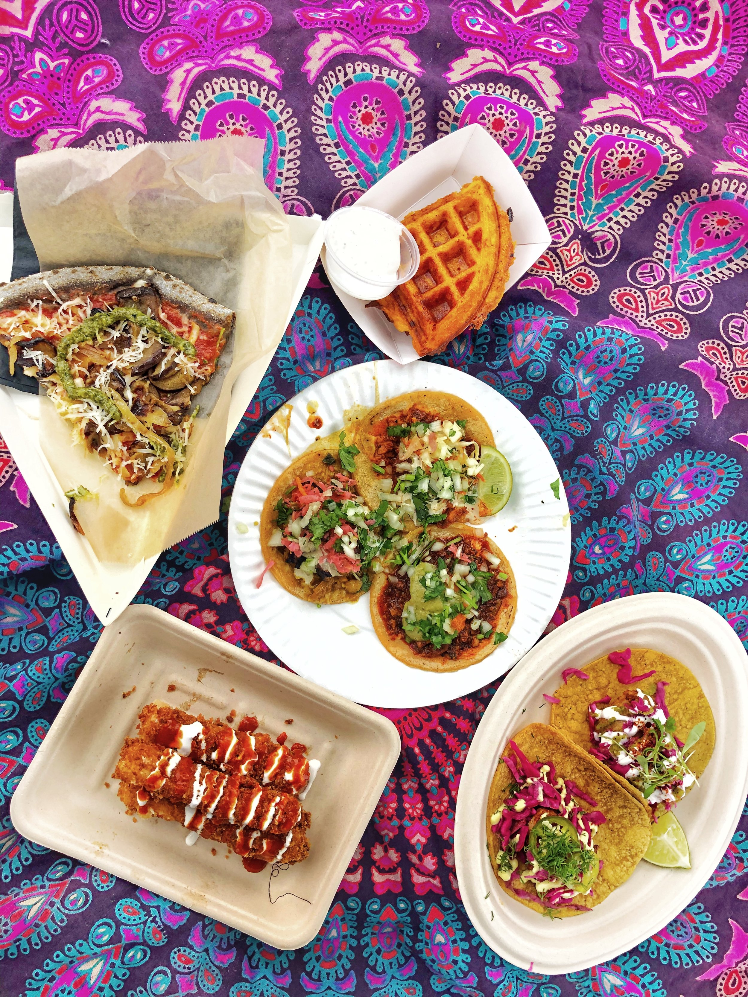 Top to Bottom: Clara Cake's Mac and Cheese Waffle, PIcky Wops, Charly's Vegan Tacos, Club Mexicano
