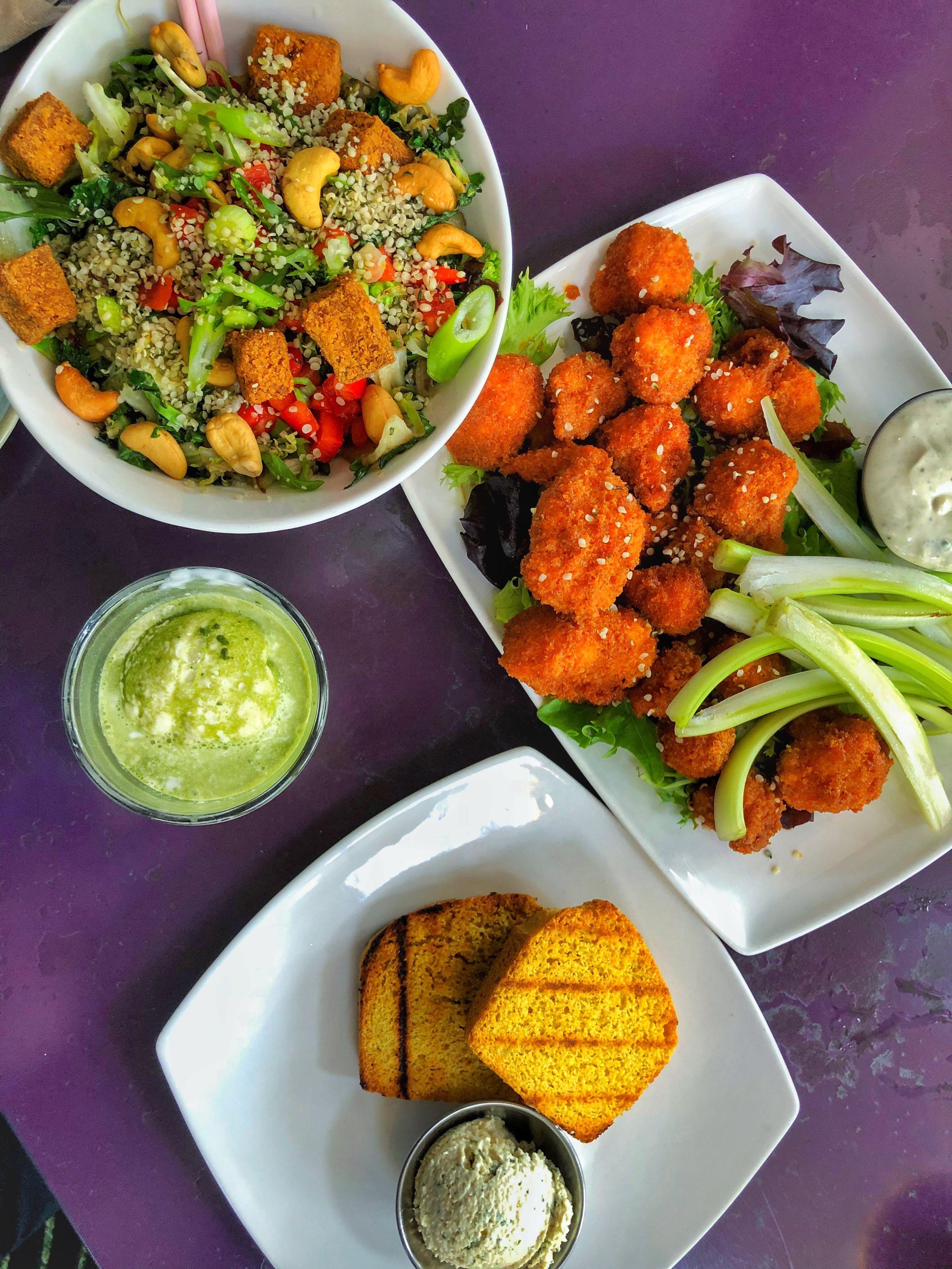 Thai Salad Bowl, Matcha affagato, buffalo cauliflower, corn bread