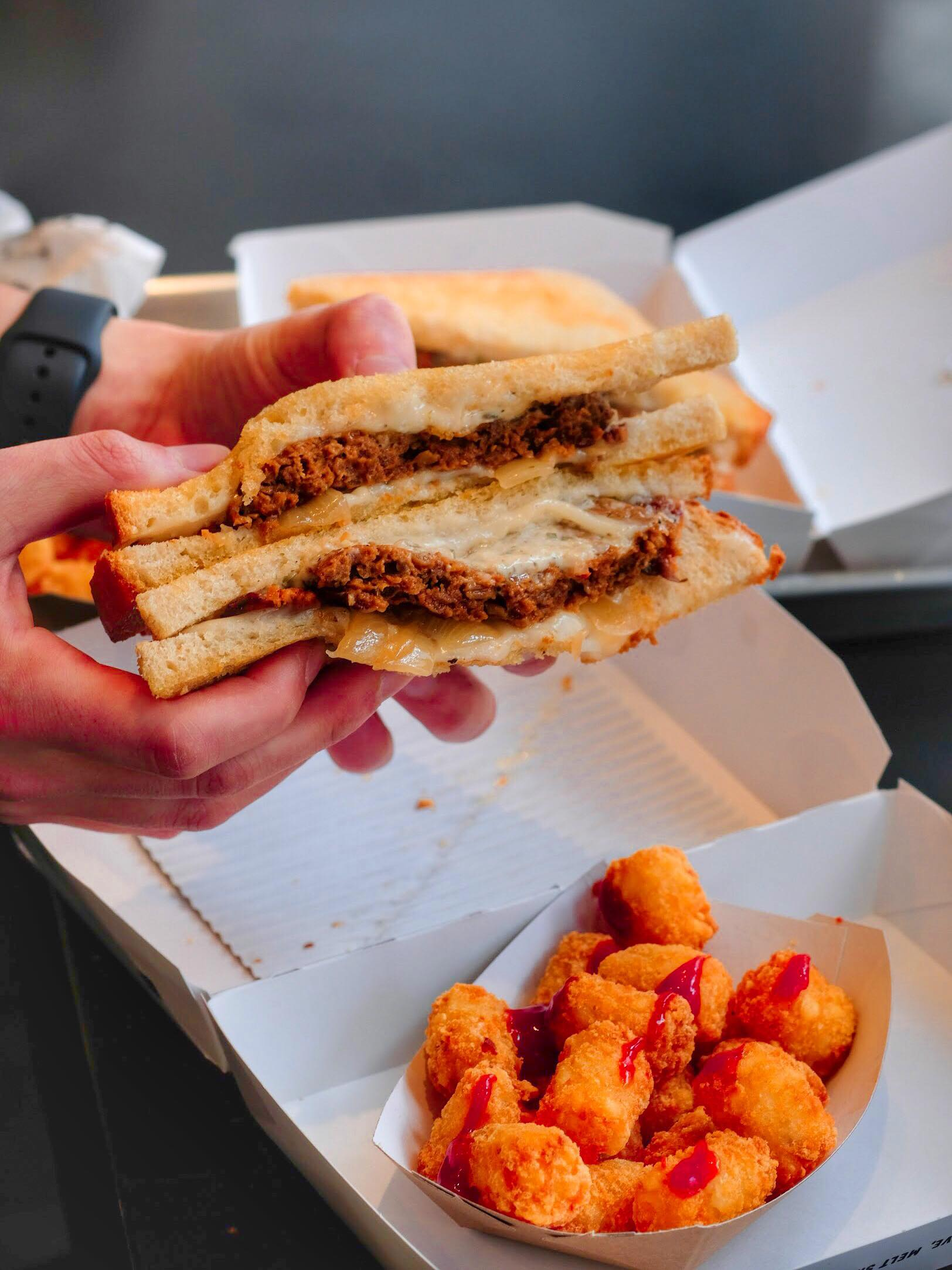 Burger Melt with Tots