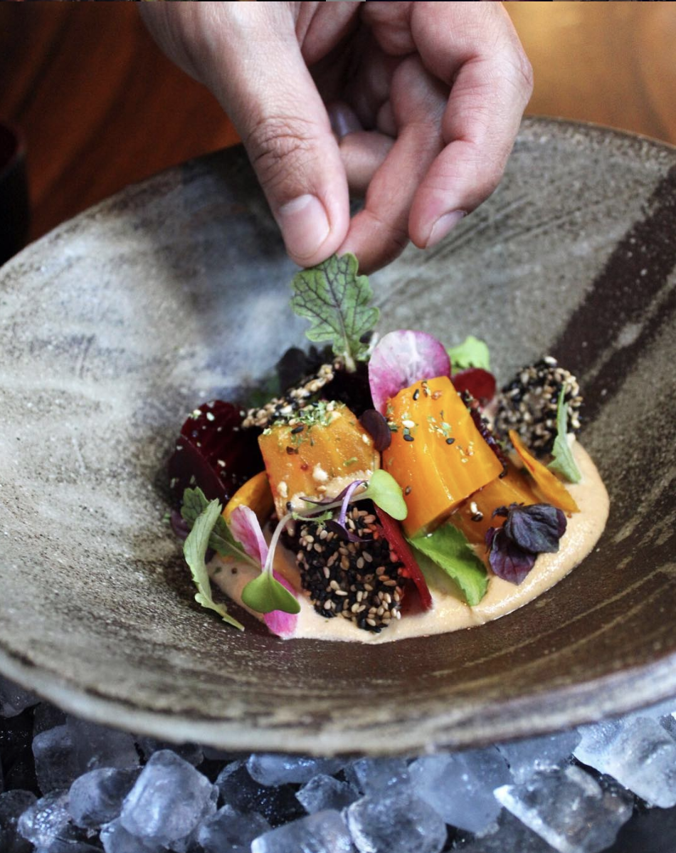 Roasted and pickled beetroot salad with sesame ponzu and shiso. Photo from Zuma New York
